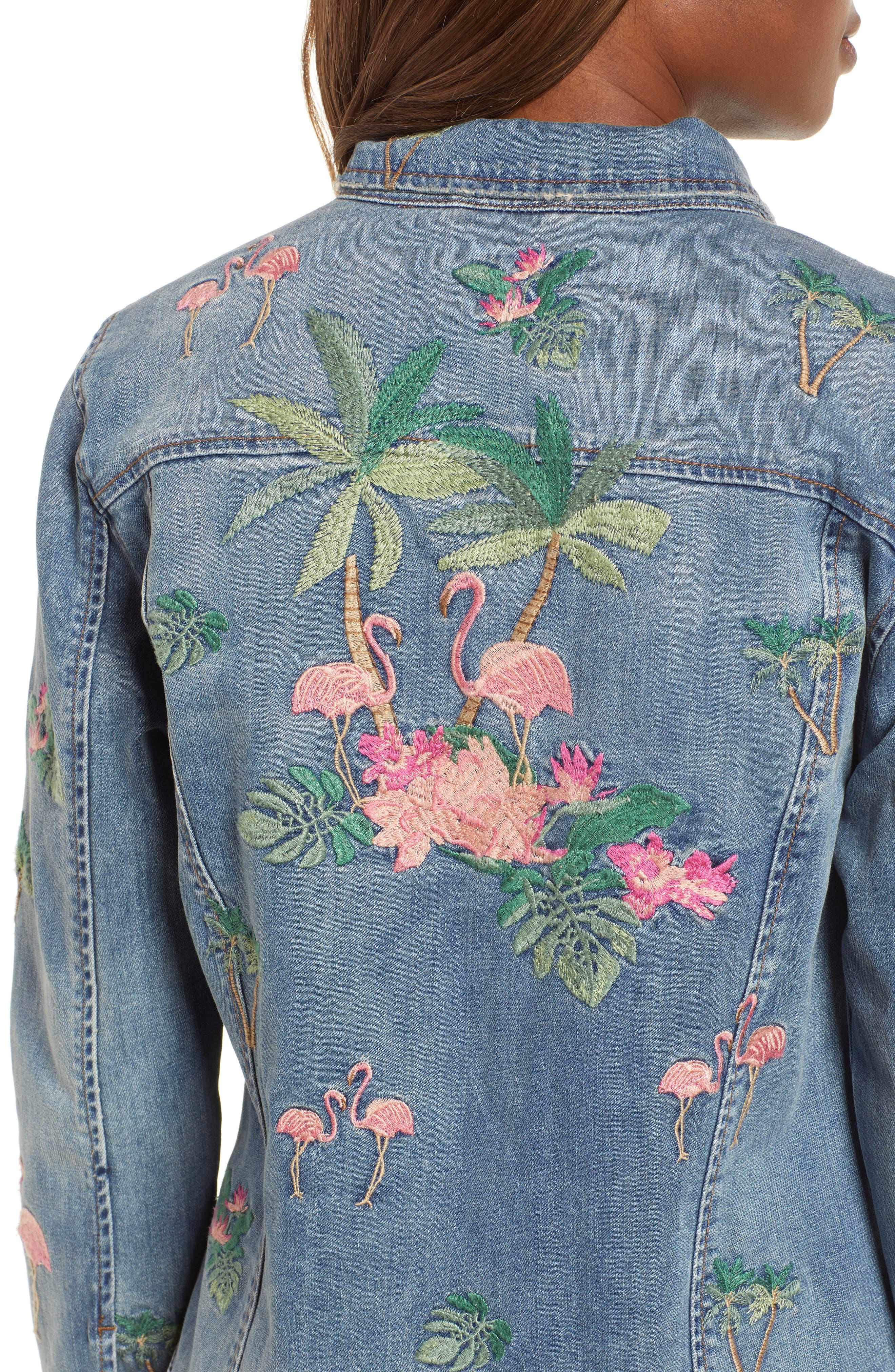 Flamingo Embroidered Denim Jacket,                             Alternate thumbnail 4, color,                             Blue W/ Embroider