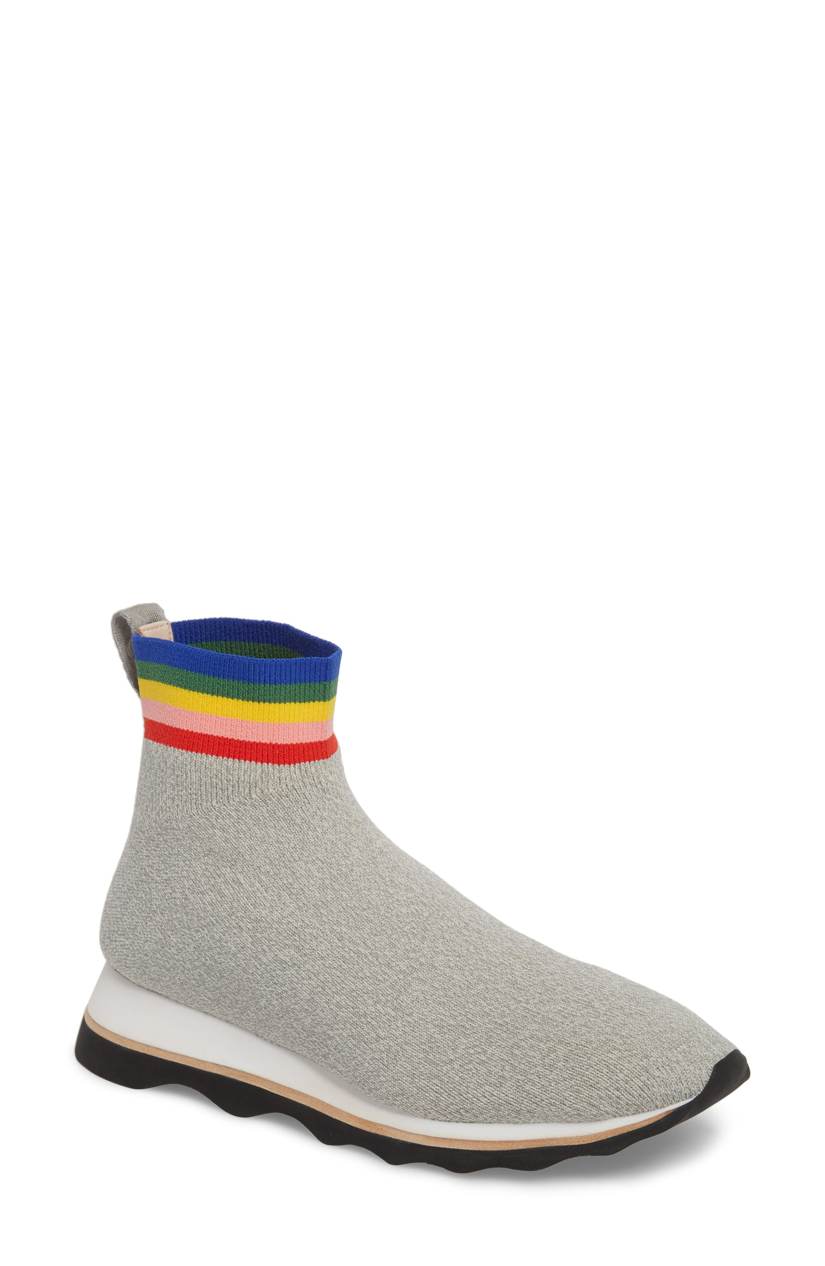 Scout Sock Sneaker,                         Main,                         color, Grey/ Rainbow