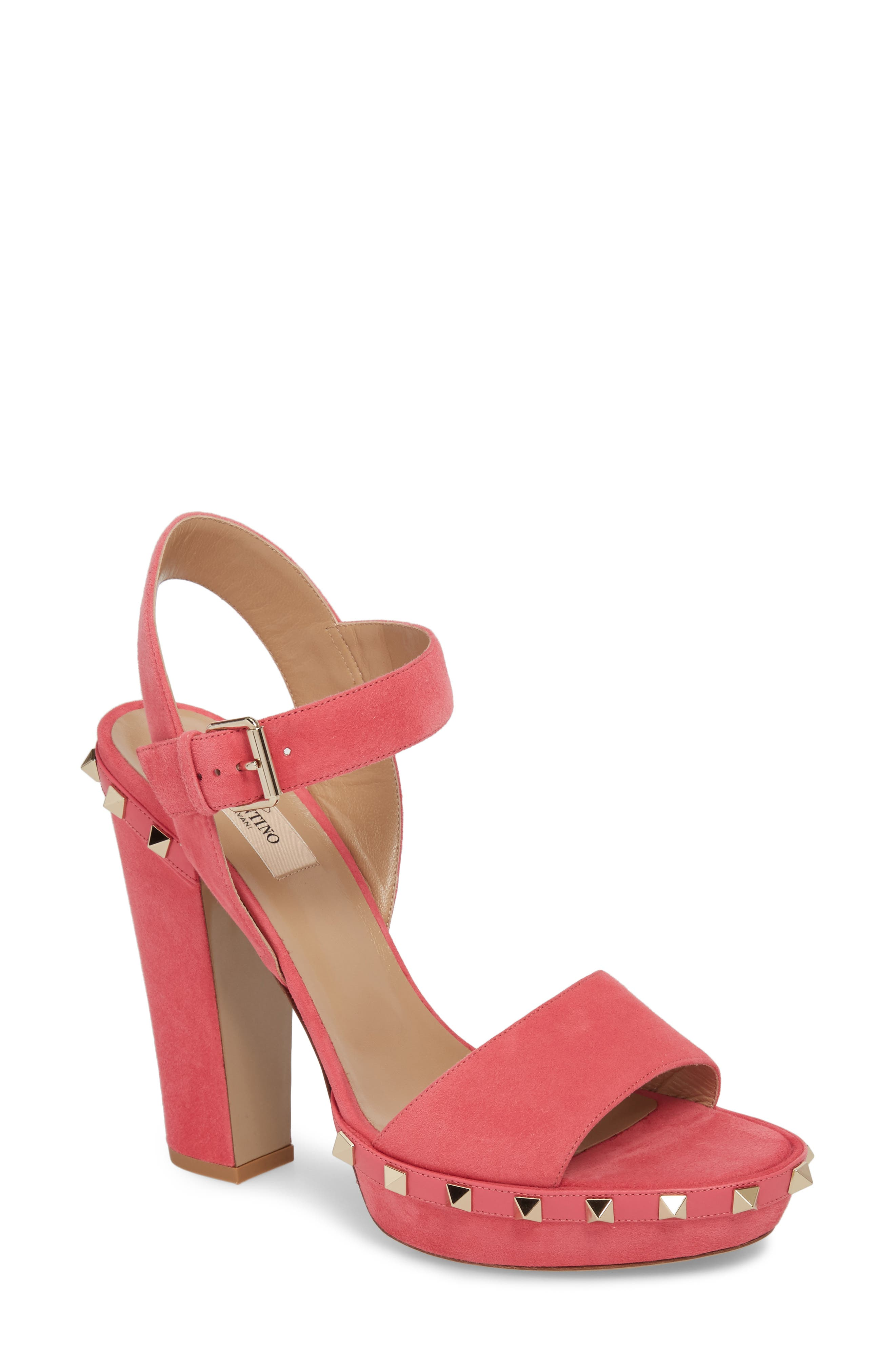 Rockstud Platform Sandal,                             Main thumbnail 1, color,                             Shadow Pink