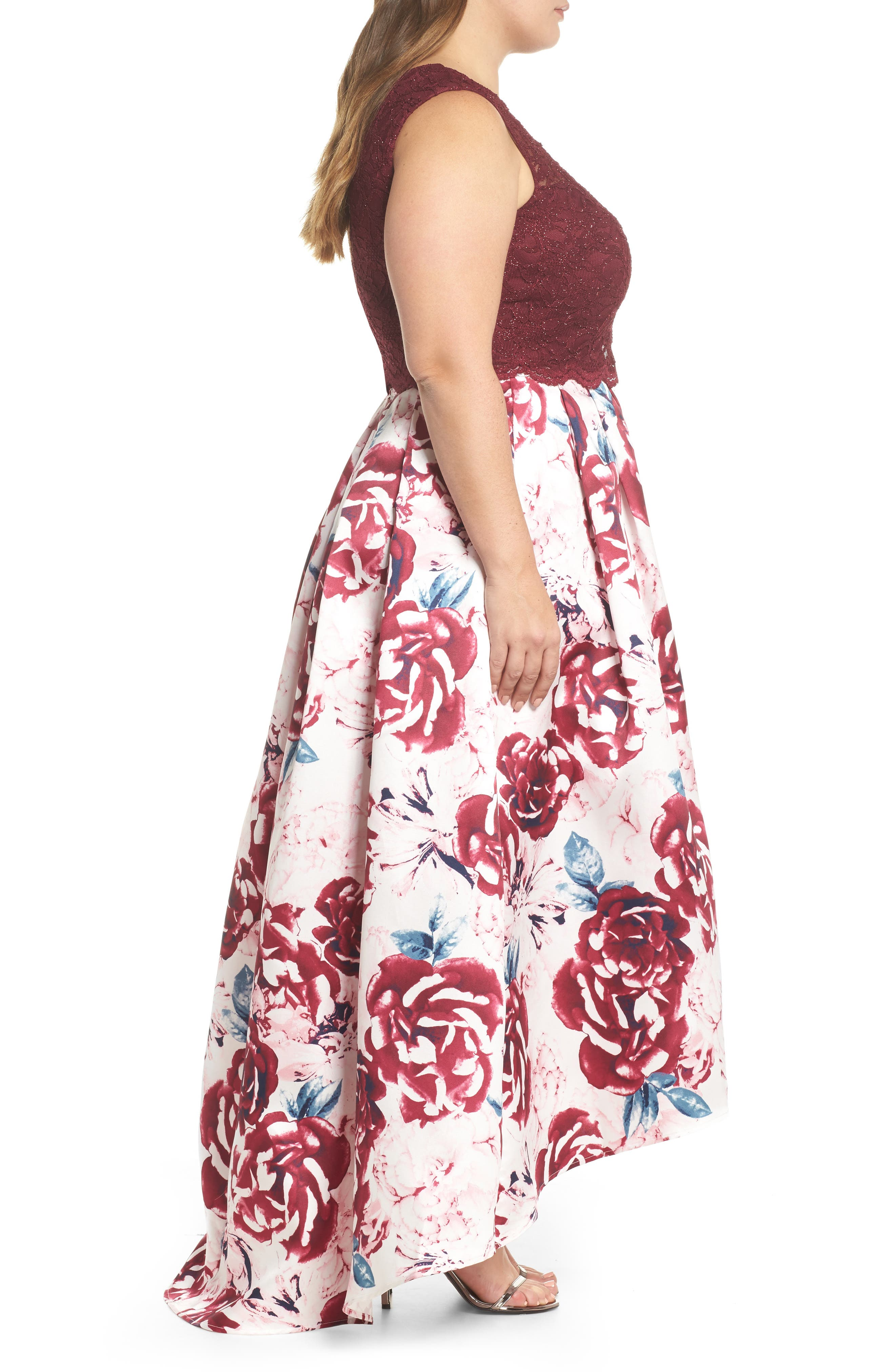 Lace Top & Mikado Skirt Two-Piece Gown,                             Alternate thumbnail 3, color,                             Merlot/ Pink/ Ivory