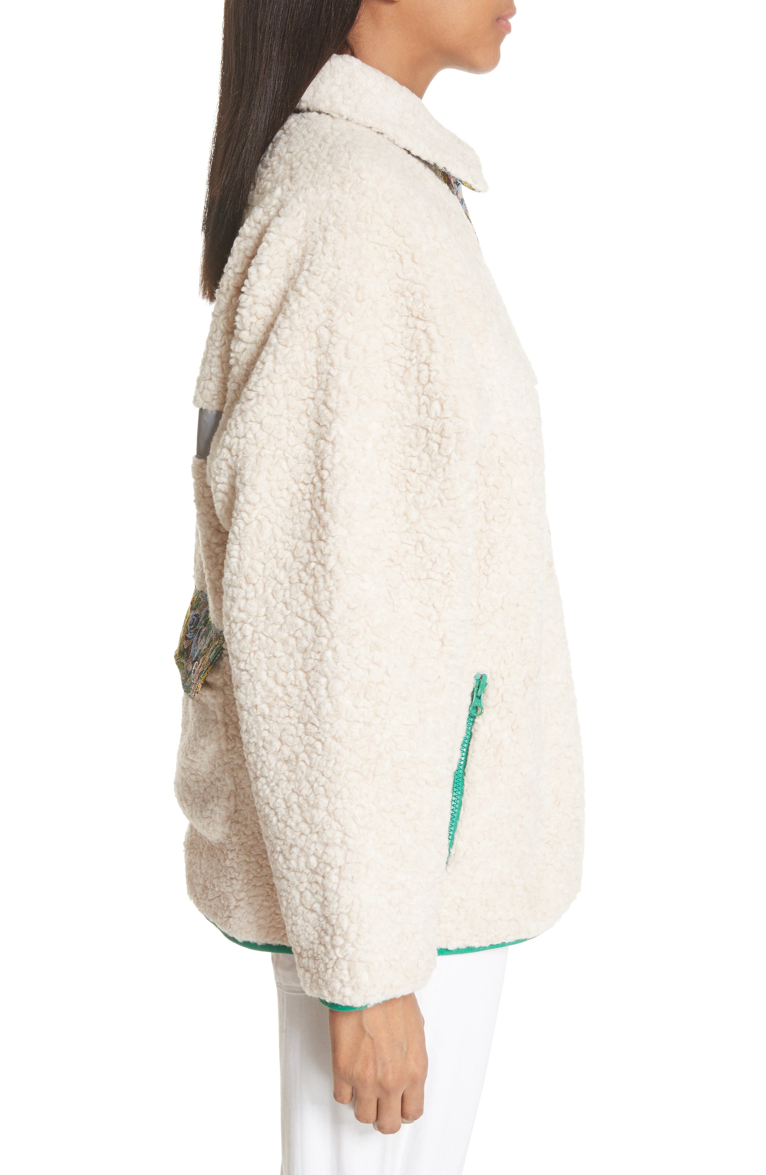 Bayside Floral Trim Fleece Jacket,                             Alternate thumbnail 3, color,                             Creamy