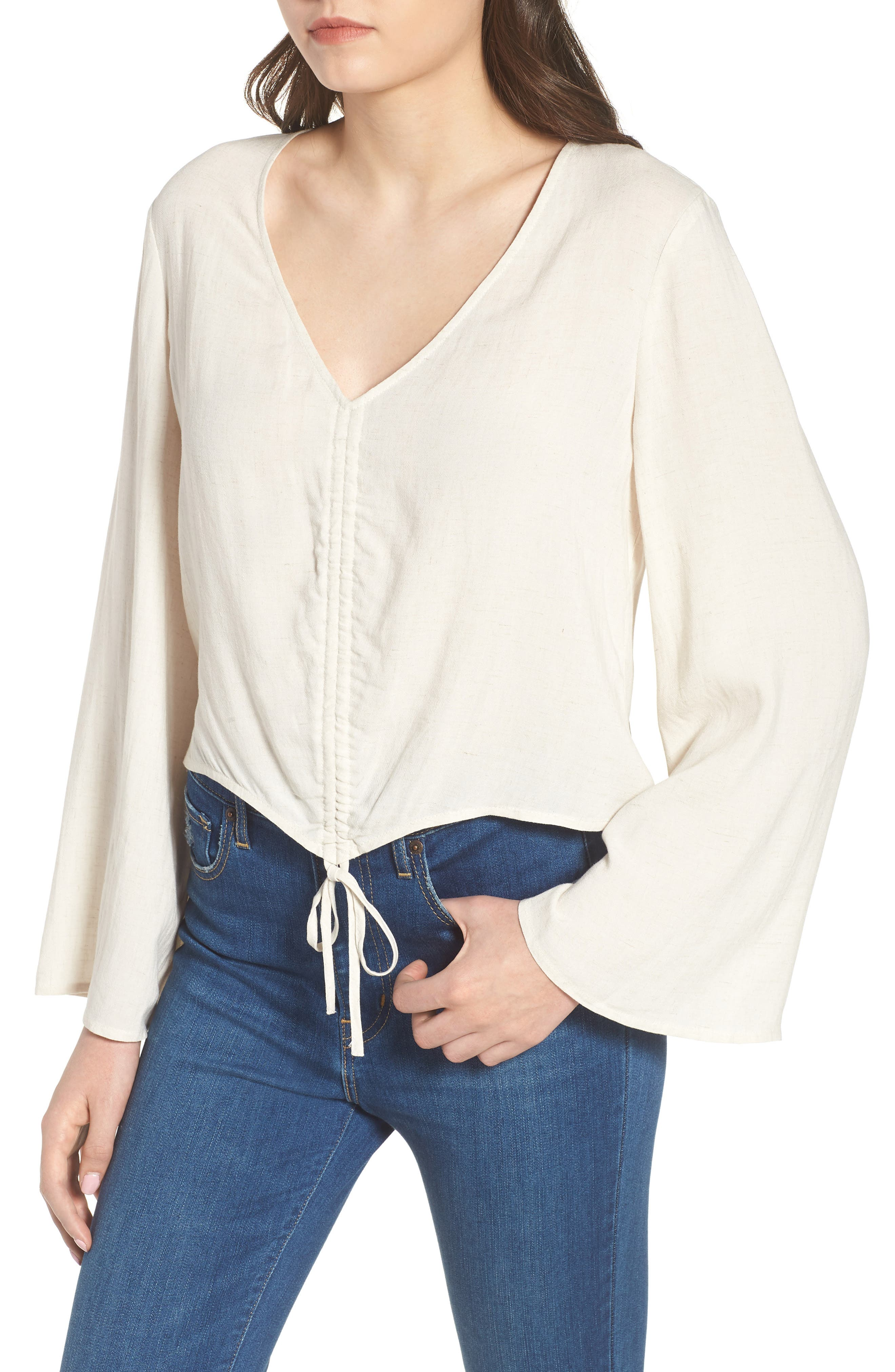 Ruched Front Top,                             Alternate thumbnail 4, color,                             Beige Oatmeal Heather