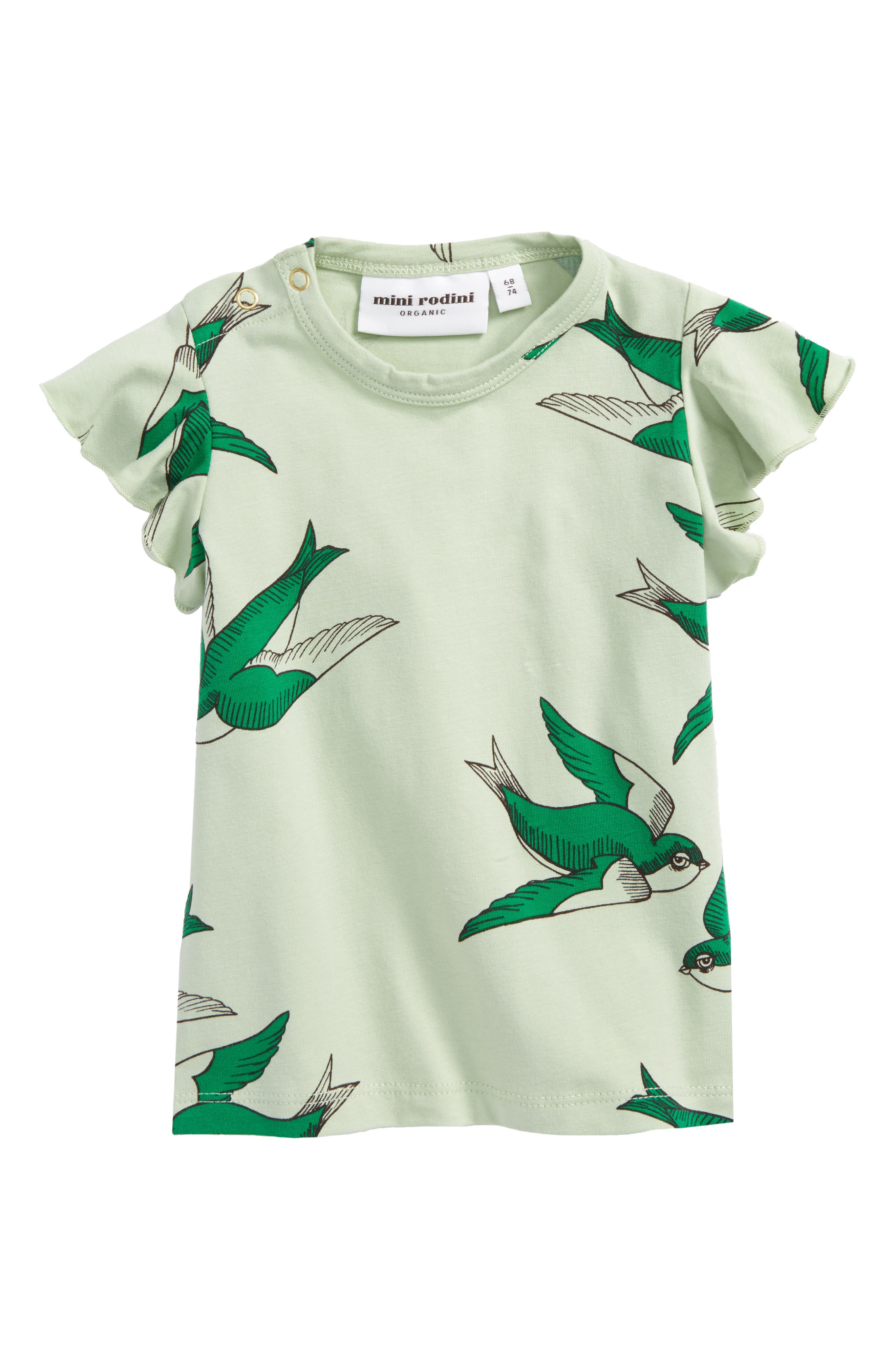 Mini Rodini Swallows Print Tee (Baby Girls)