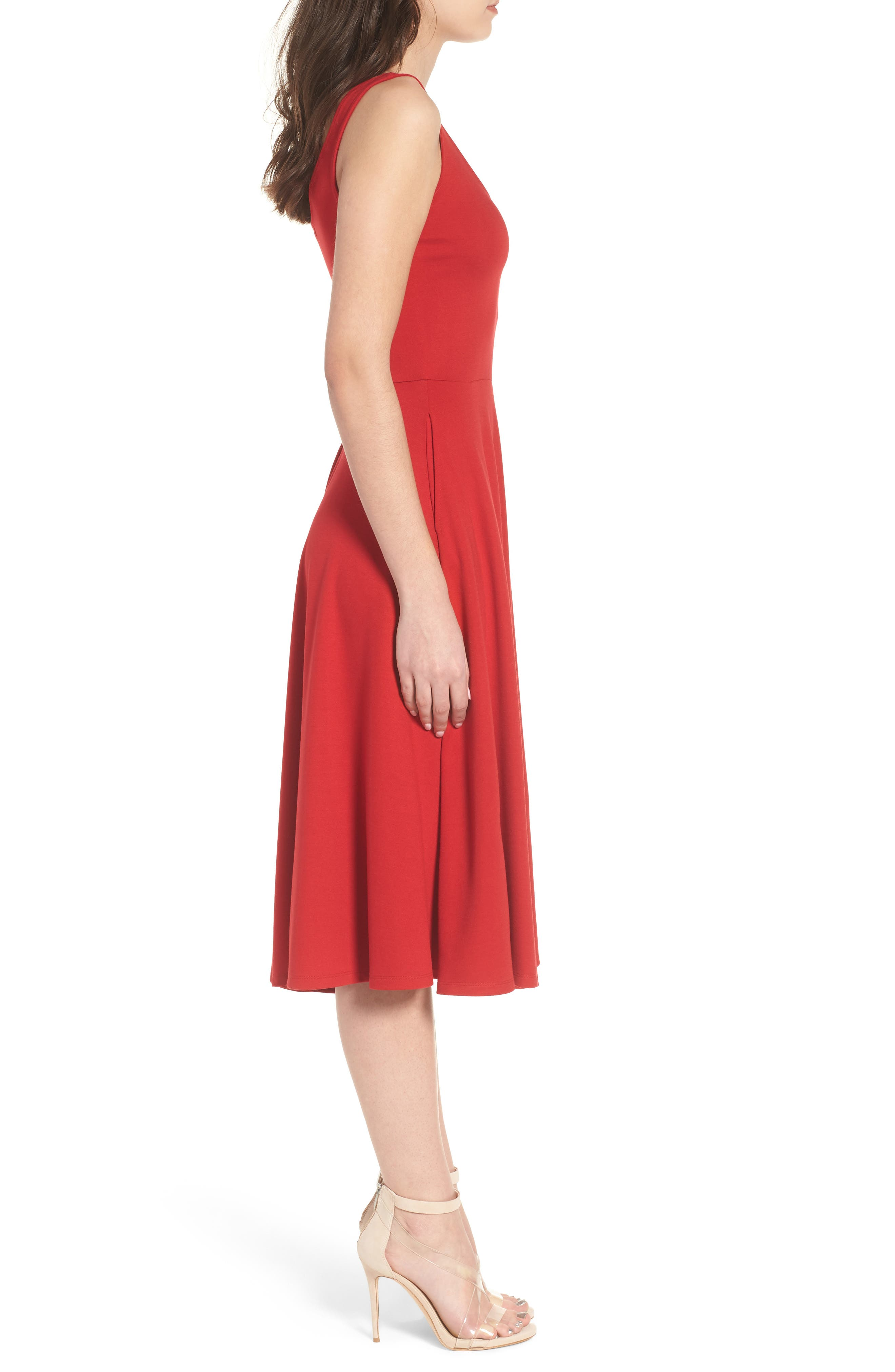 Stretch Knit Midi Dress,                             Alternate thumbnail 2, color,                             Red Couture