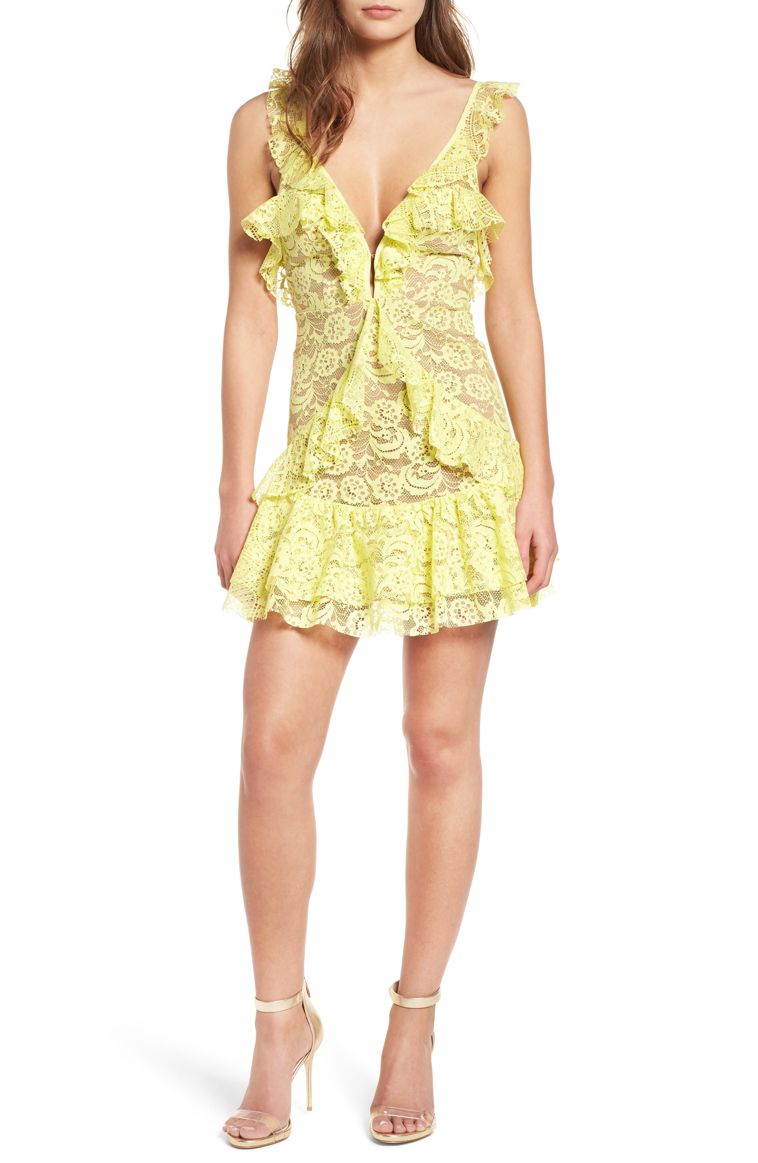 Tati Lace Minidress,                             Main thumbnail 1, color,                             Lemon