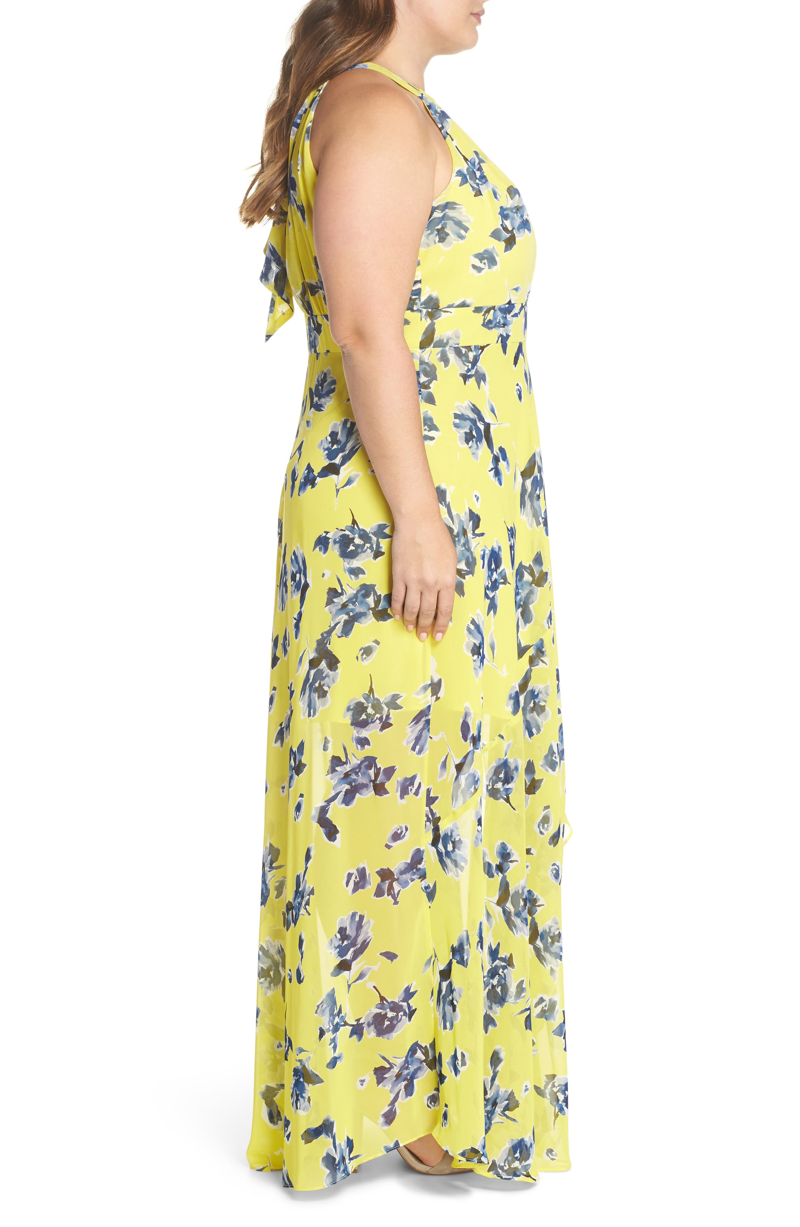 Floral Ruffle Halter Maxi Dress,                             Alternate thumbnail 3, color,                             Yellow