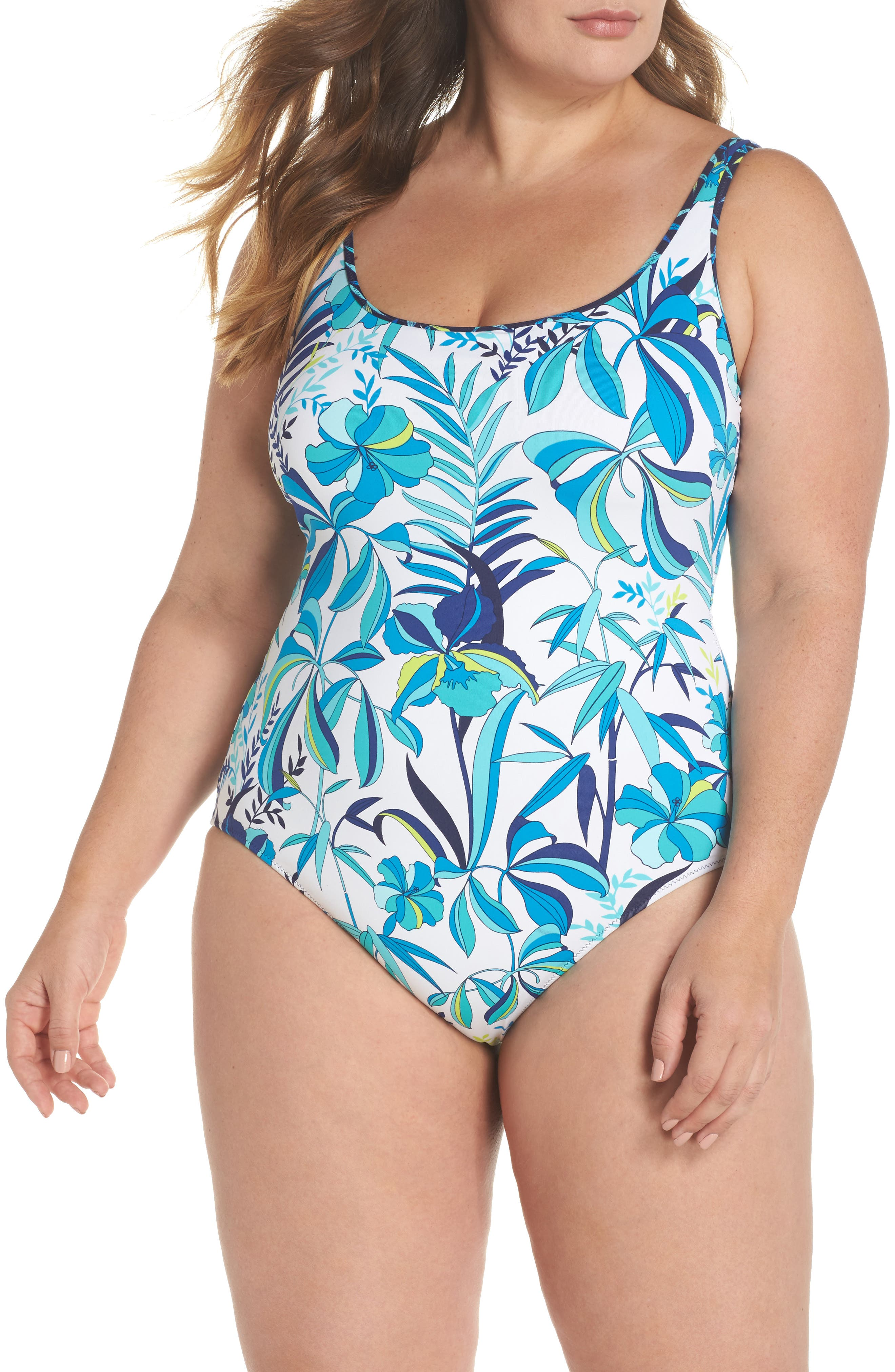 Tropical Swirl Reversible One-Piece Swimsuit,                         Main,                         color, White