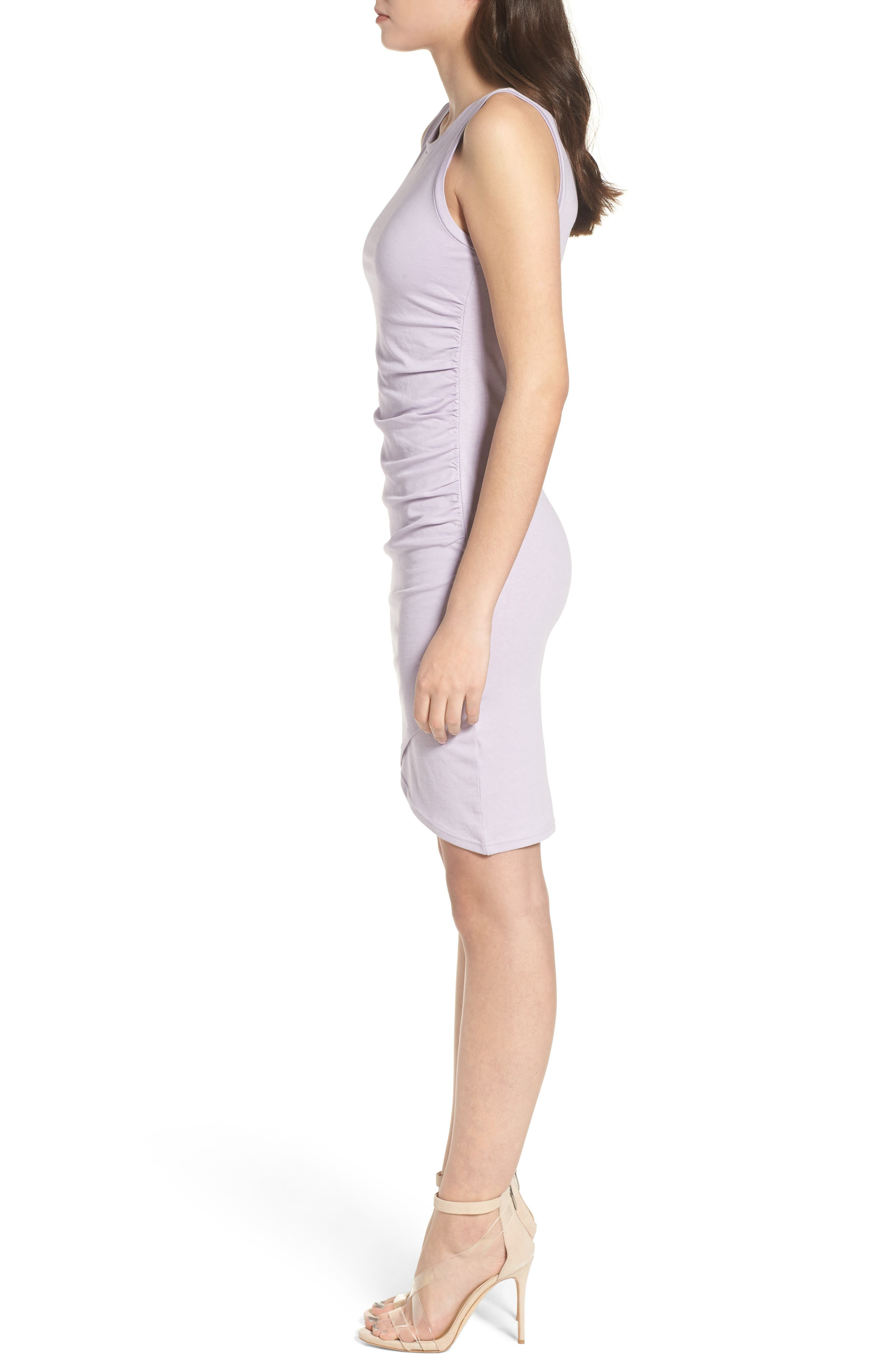 Ruched Body-Con Tank Dress,                             Alternate thumbnail 3, color,                             Purple Petal