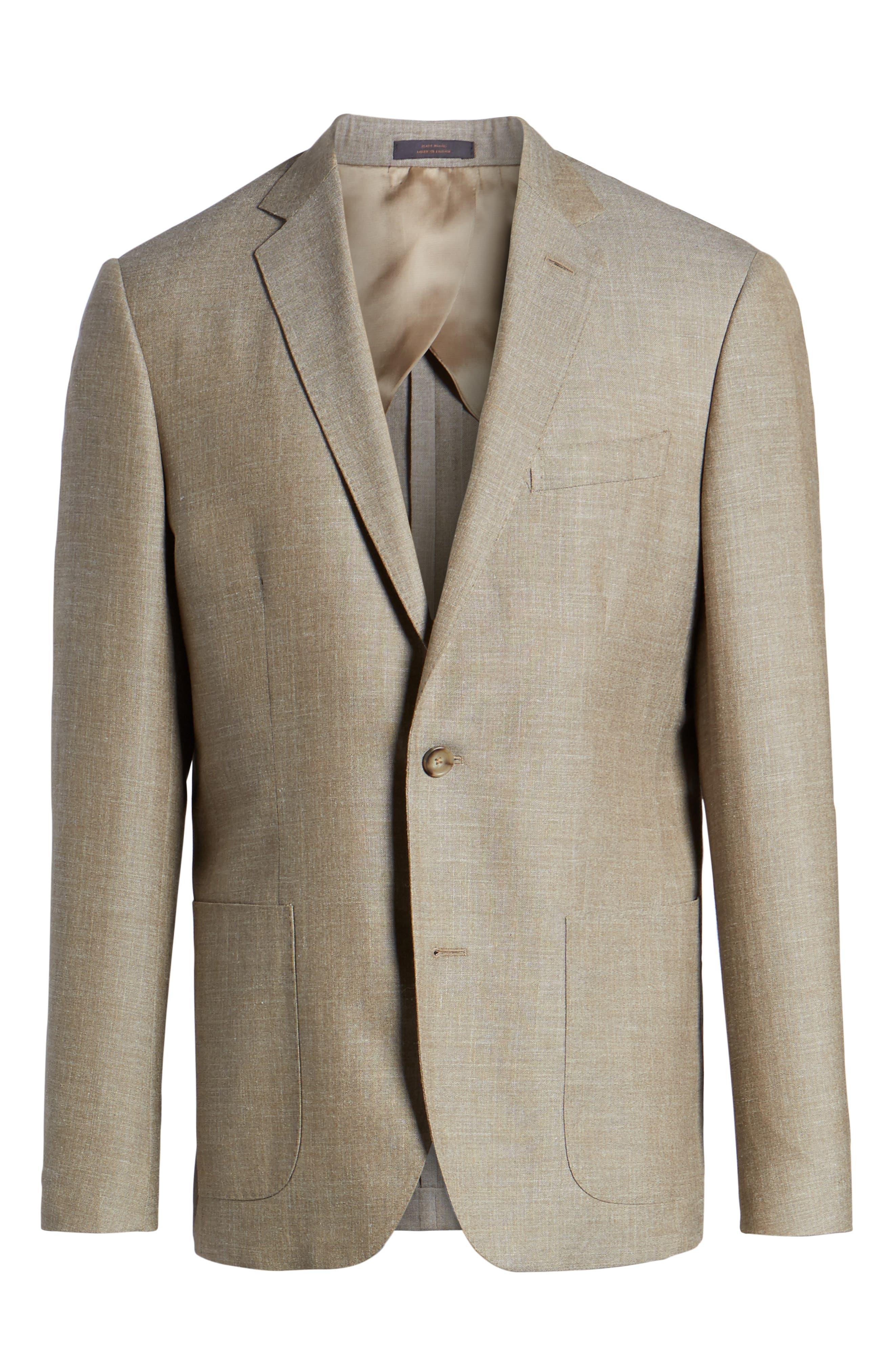 Trim Fit Wool Blend Blazer,                             Alternate thumbnail 6, color,                             Tan