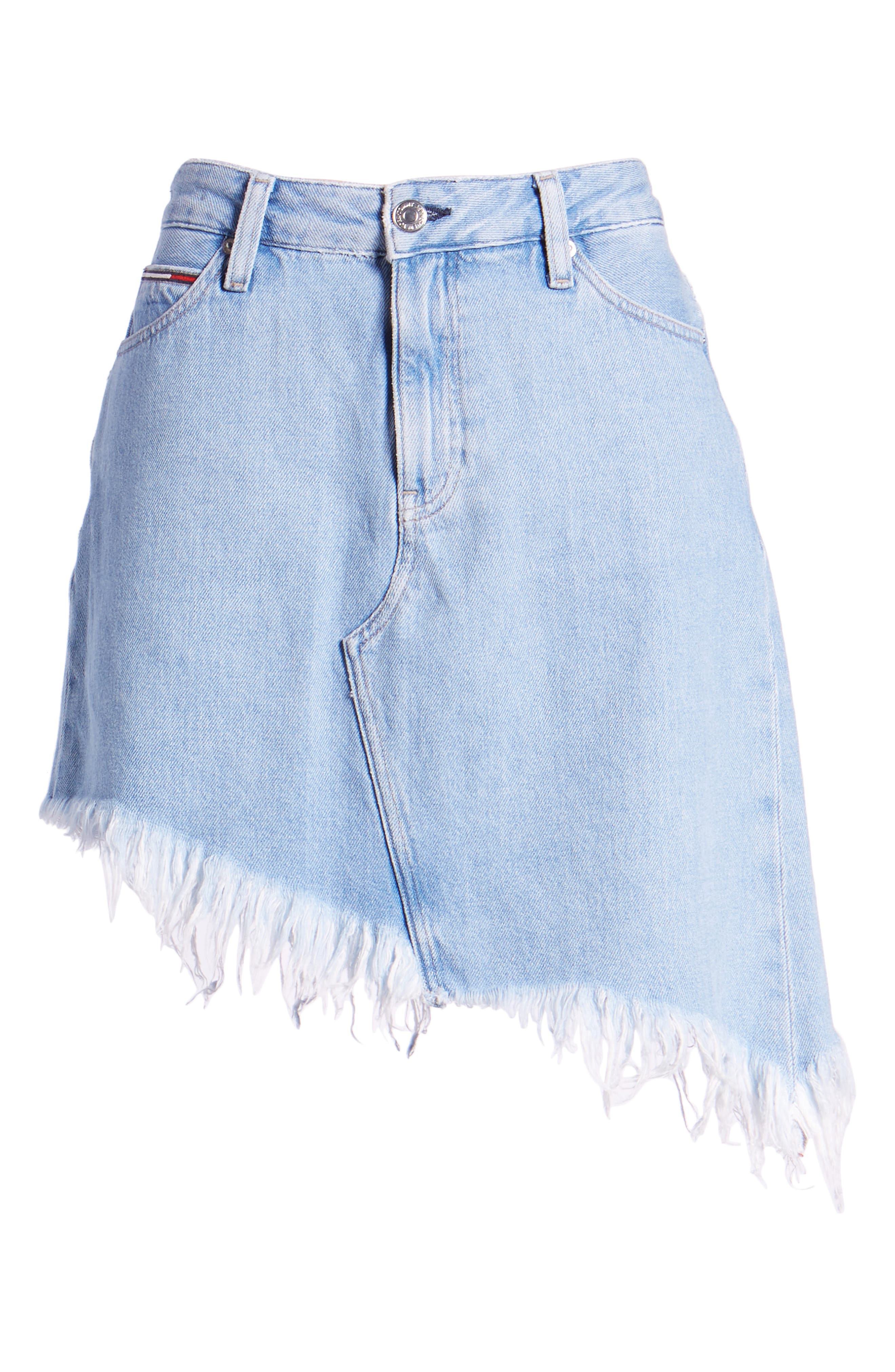 Asymmetrical Denim Skirt,                             Alternate thumbnail 7, color,                             Raw Destructed Blue Rigid