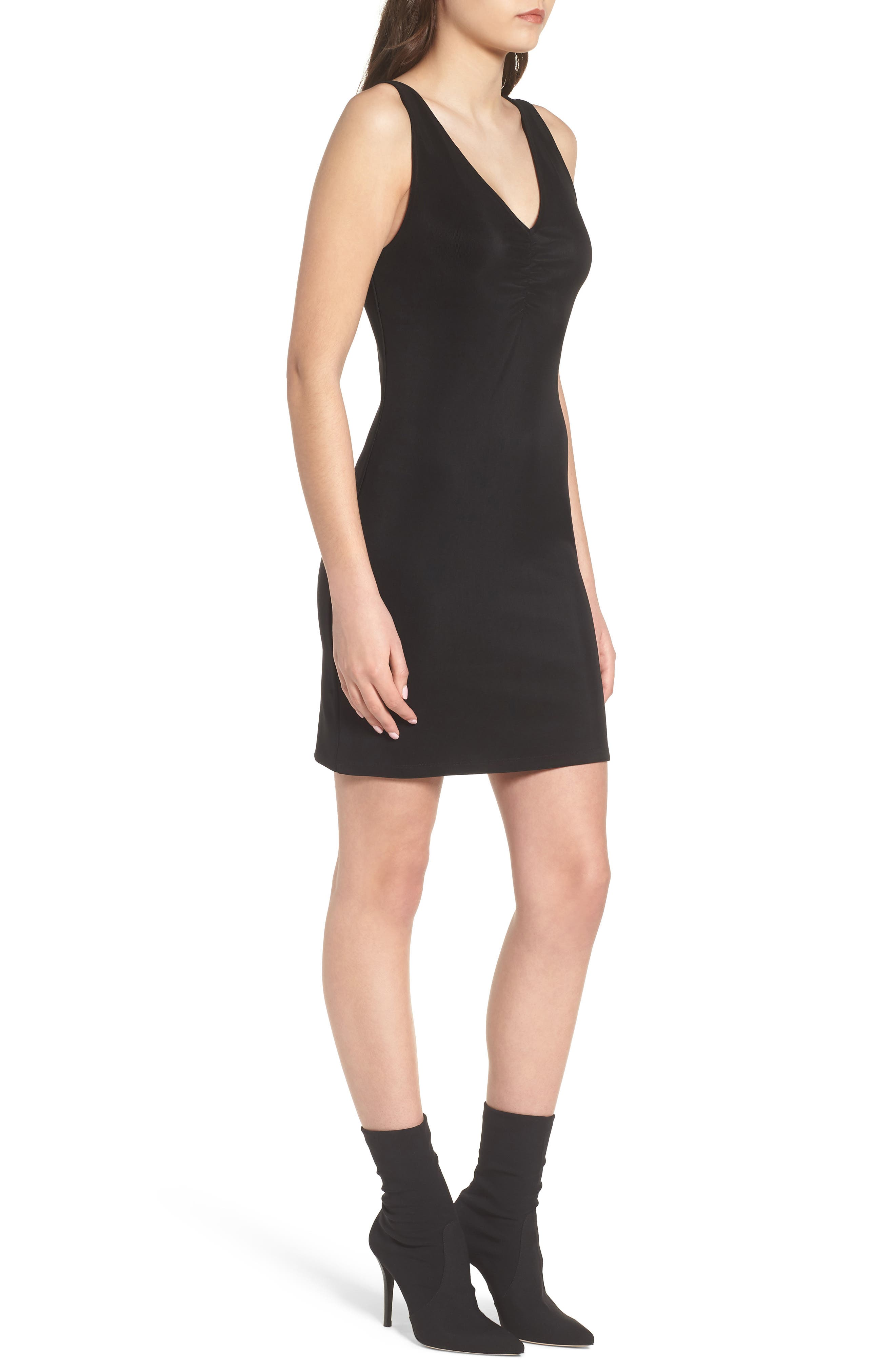 Smocked Body-Con Dress,                             Alternate thumbnail 3, color,                             Black