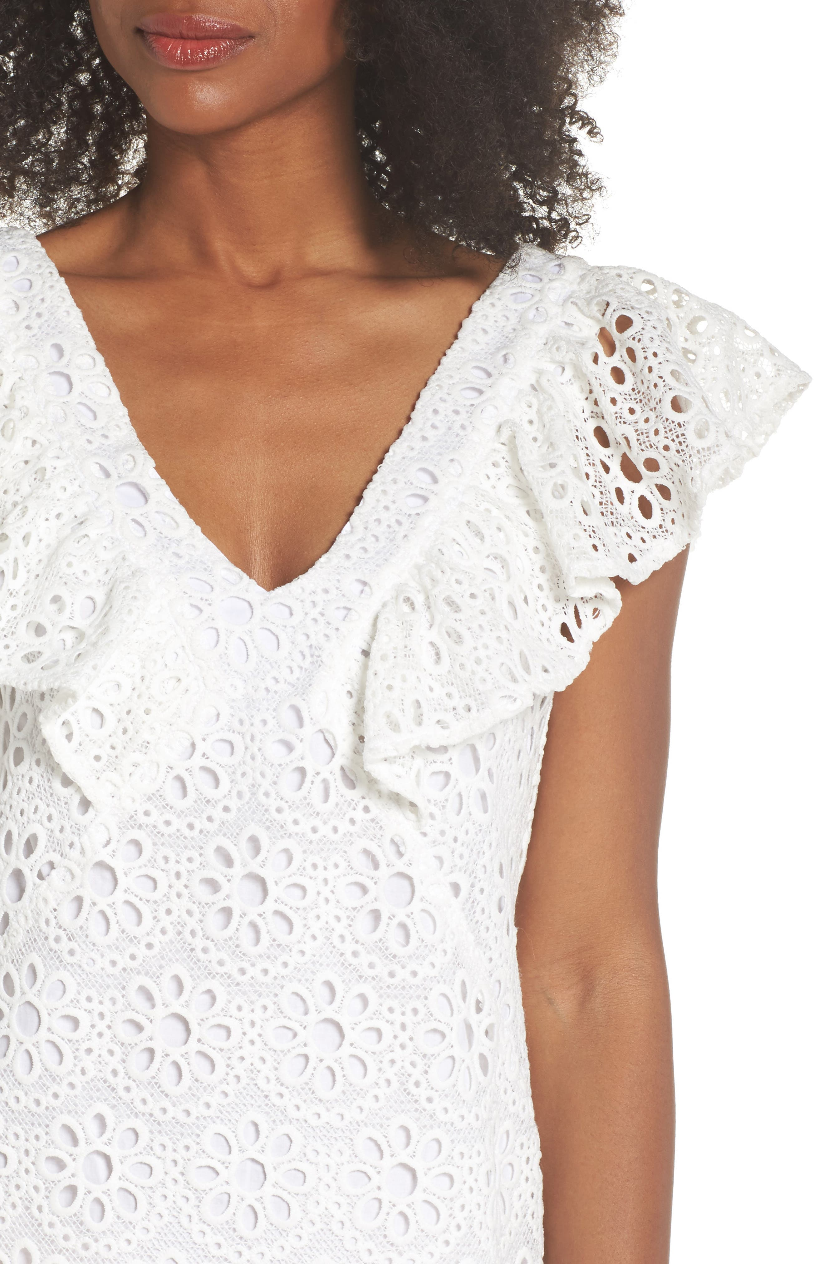 Neriah Eyelet Embroidered Dress,                             Alternate thumbnail 4, color,                             Whitewash