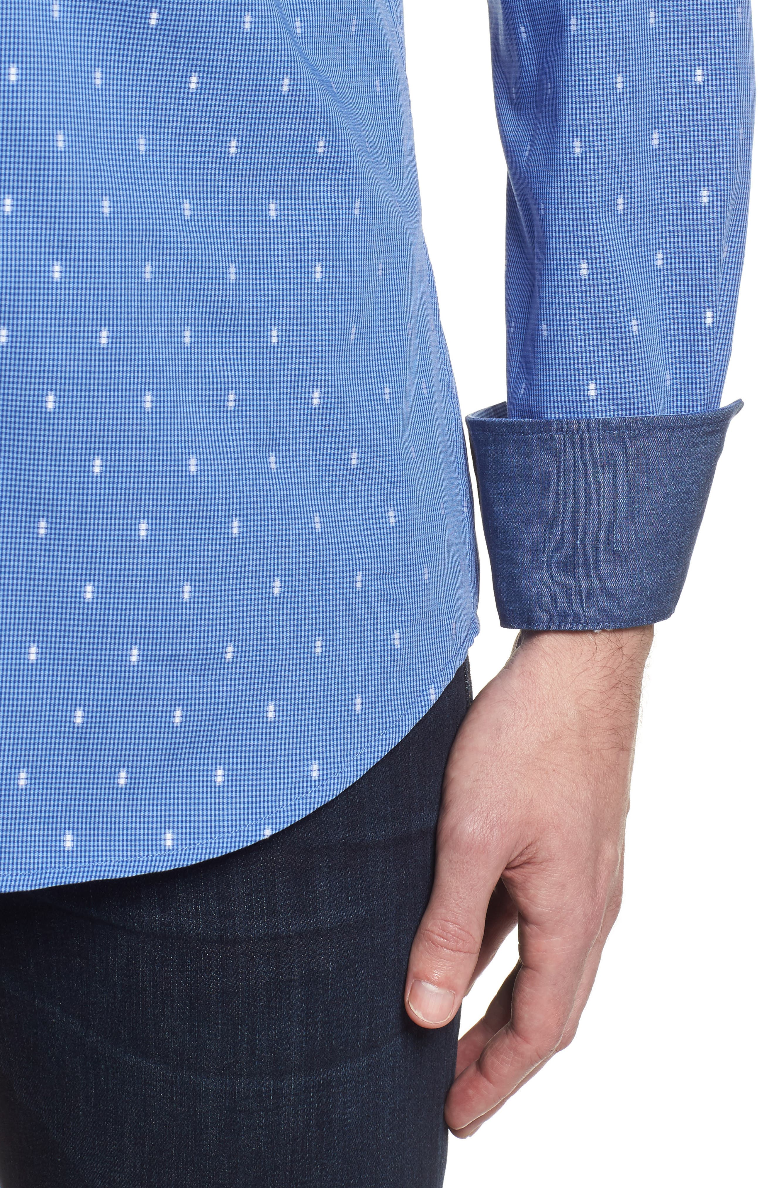 Shaped Fit Pin Check Sport Shirt,                             Alternate thumbnail 4, color,                             Classic Blue
