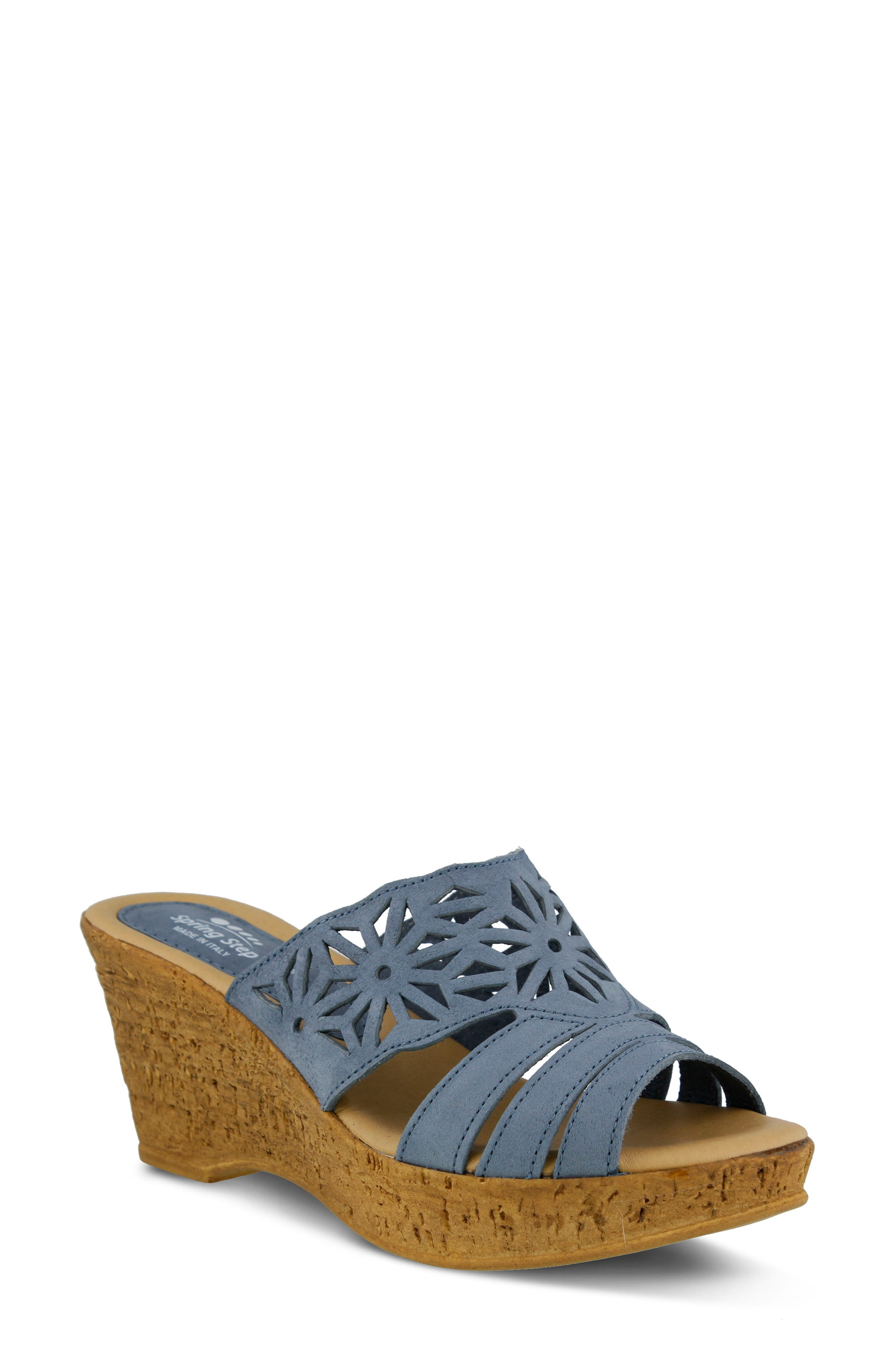 Dora Wedge Sandal,                             Main thumbnail 1, color,                             Blue Nubuck