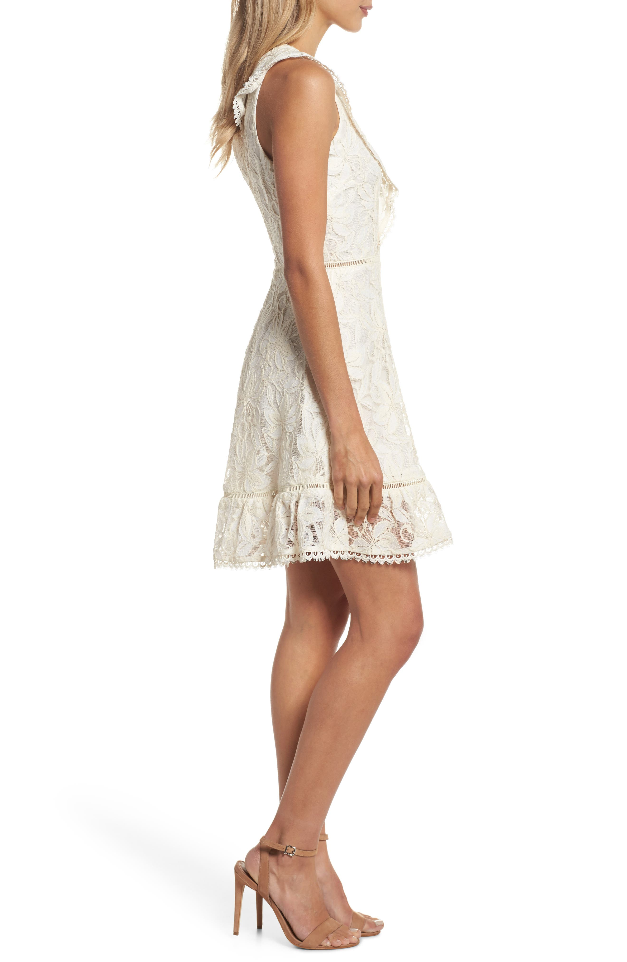 Rease Ruffle Lace Dress,                             Alternate thumbnail 3, color,                             Antique White