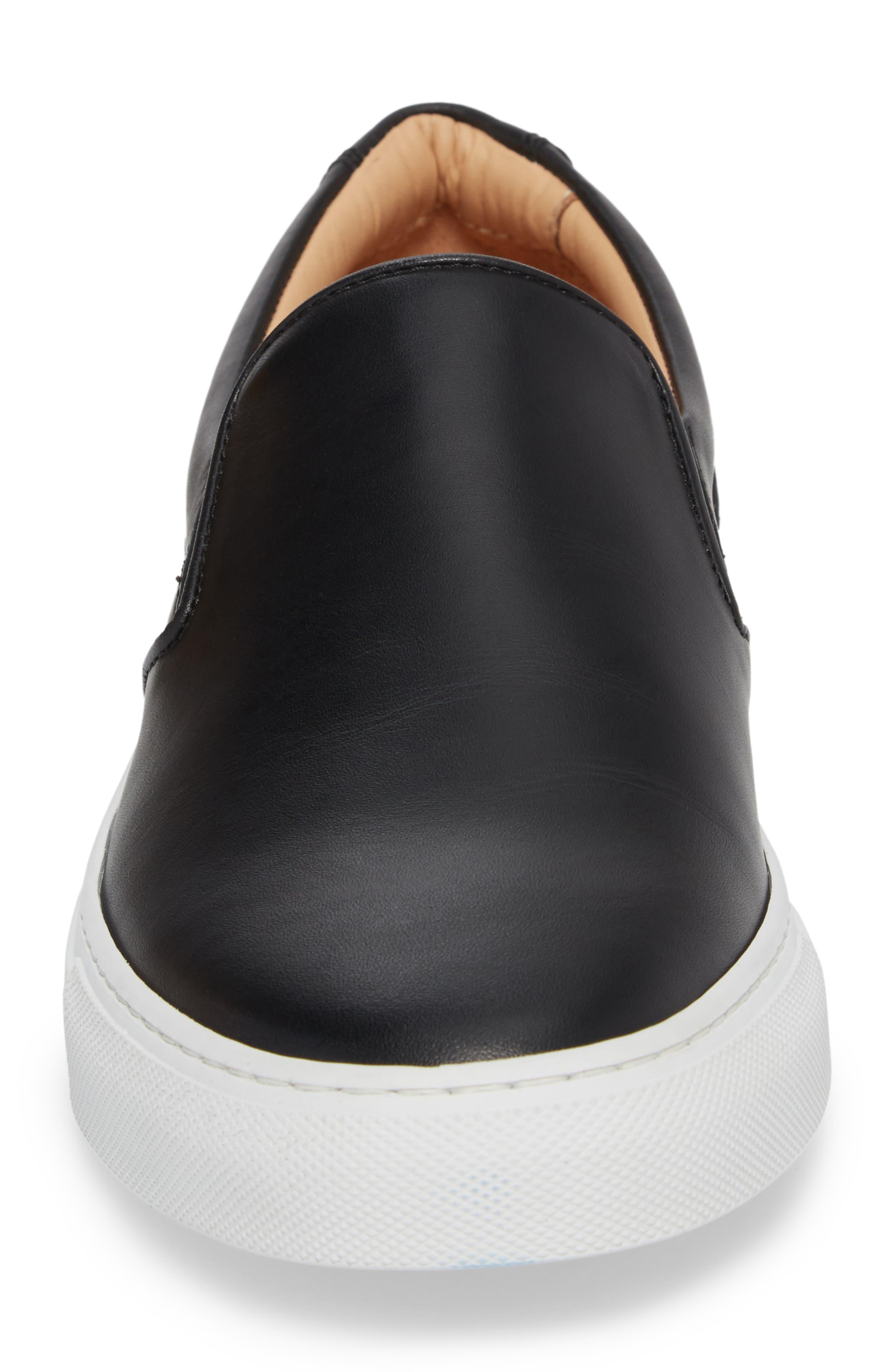 Wooster Slip-On Sneaker,                             Alternate thumbnail 4, color,                             Black Leather