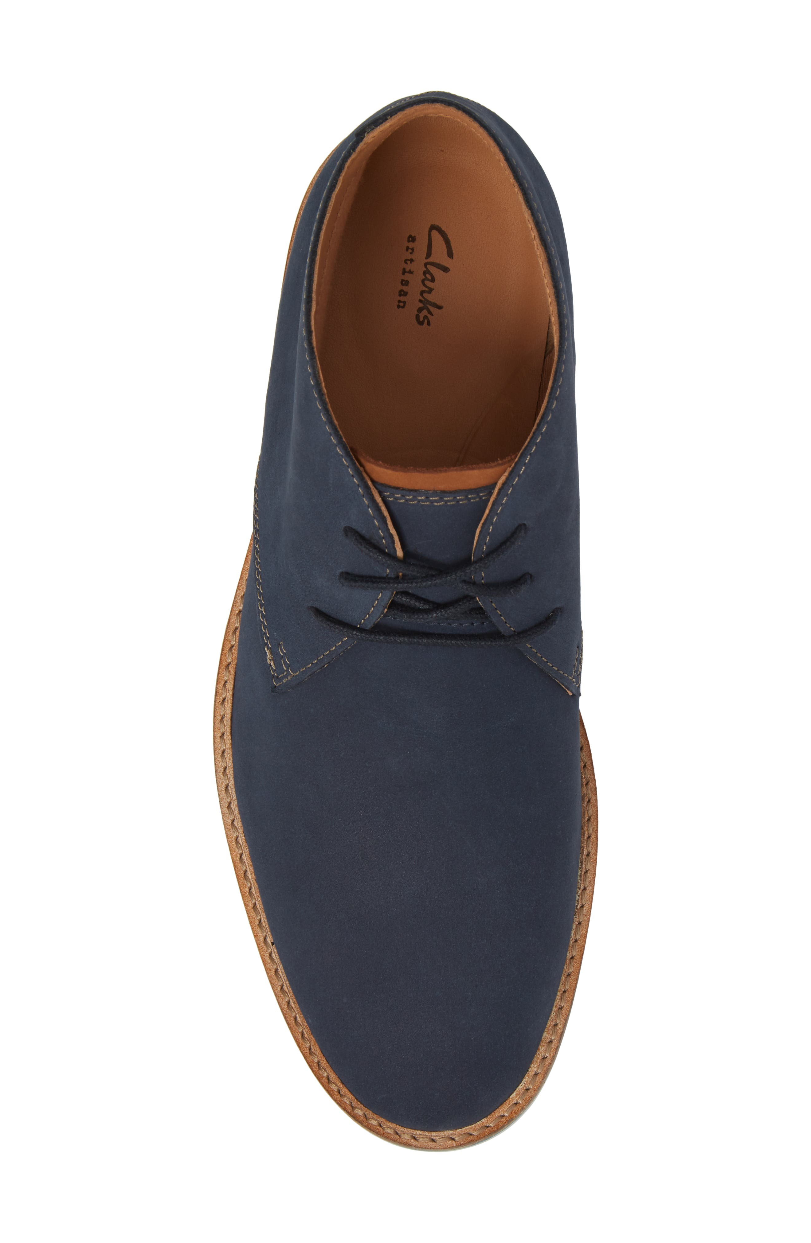 Clarks<sup>®</sup> Atticus Limit Chukka Boot,                             Alternate thumbnail 5, color,                             Navy Nubuck