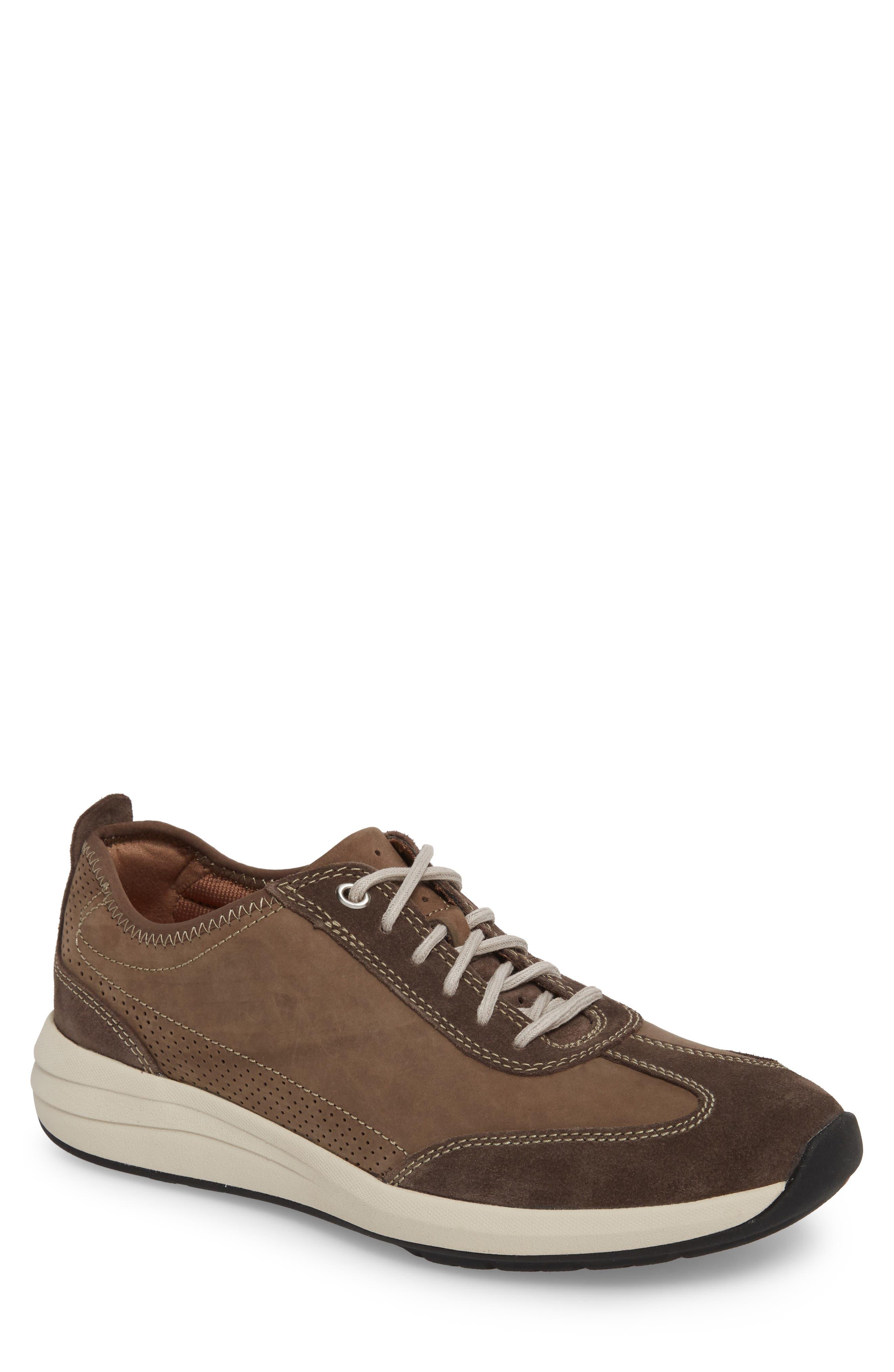 Clarks<sup>®</sup> Un Coast Low Top Sneaker,                             Main thumbnail 1, color,                             Taupe Nubuck