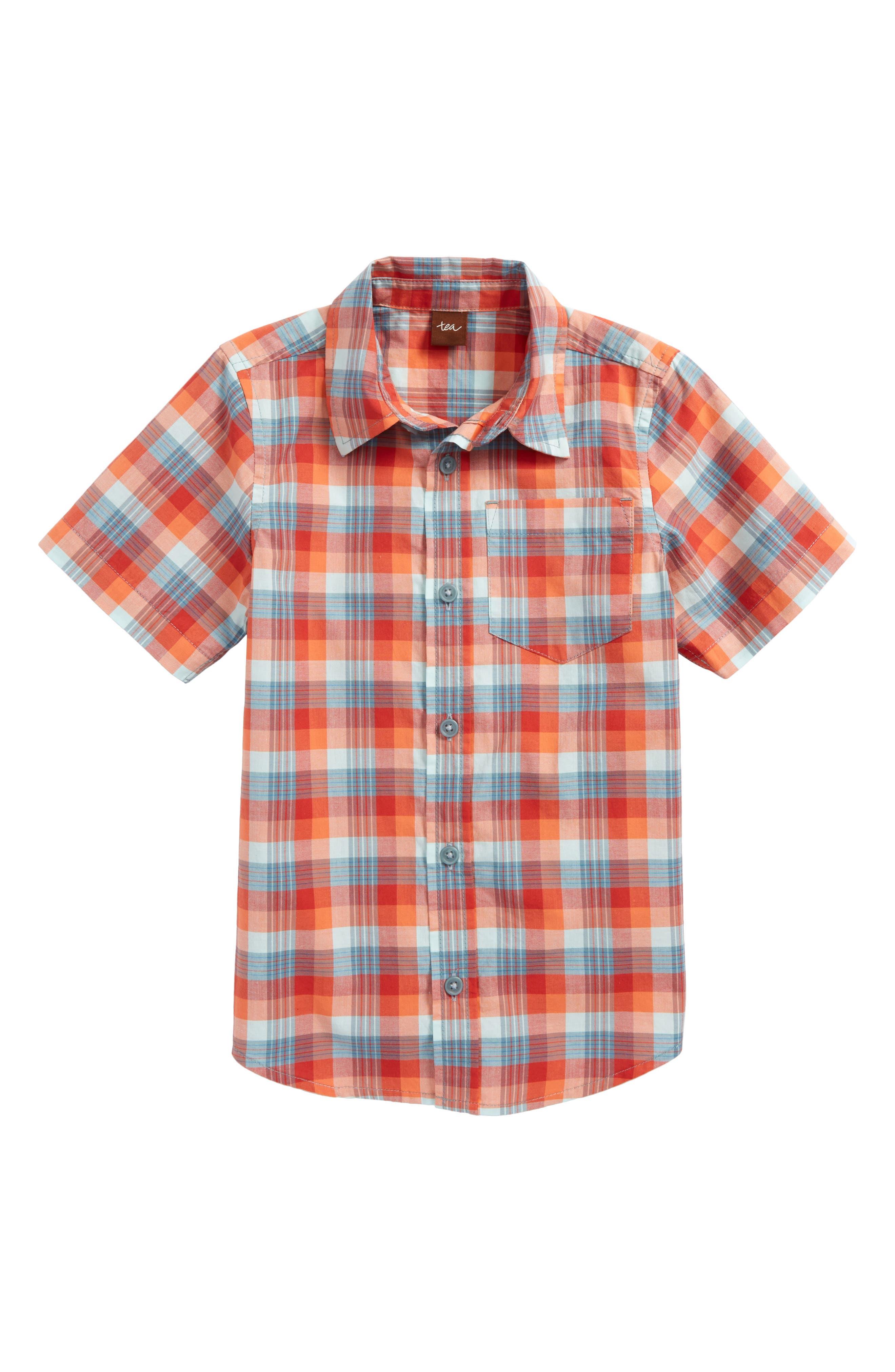 Tea Collection Plaid Short Sleeve Shirt (Toddler Boys & Little Boys)