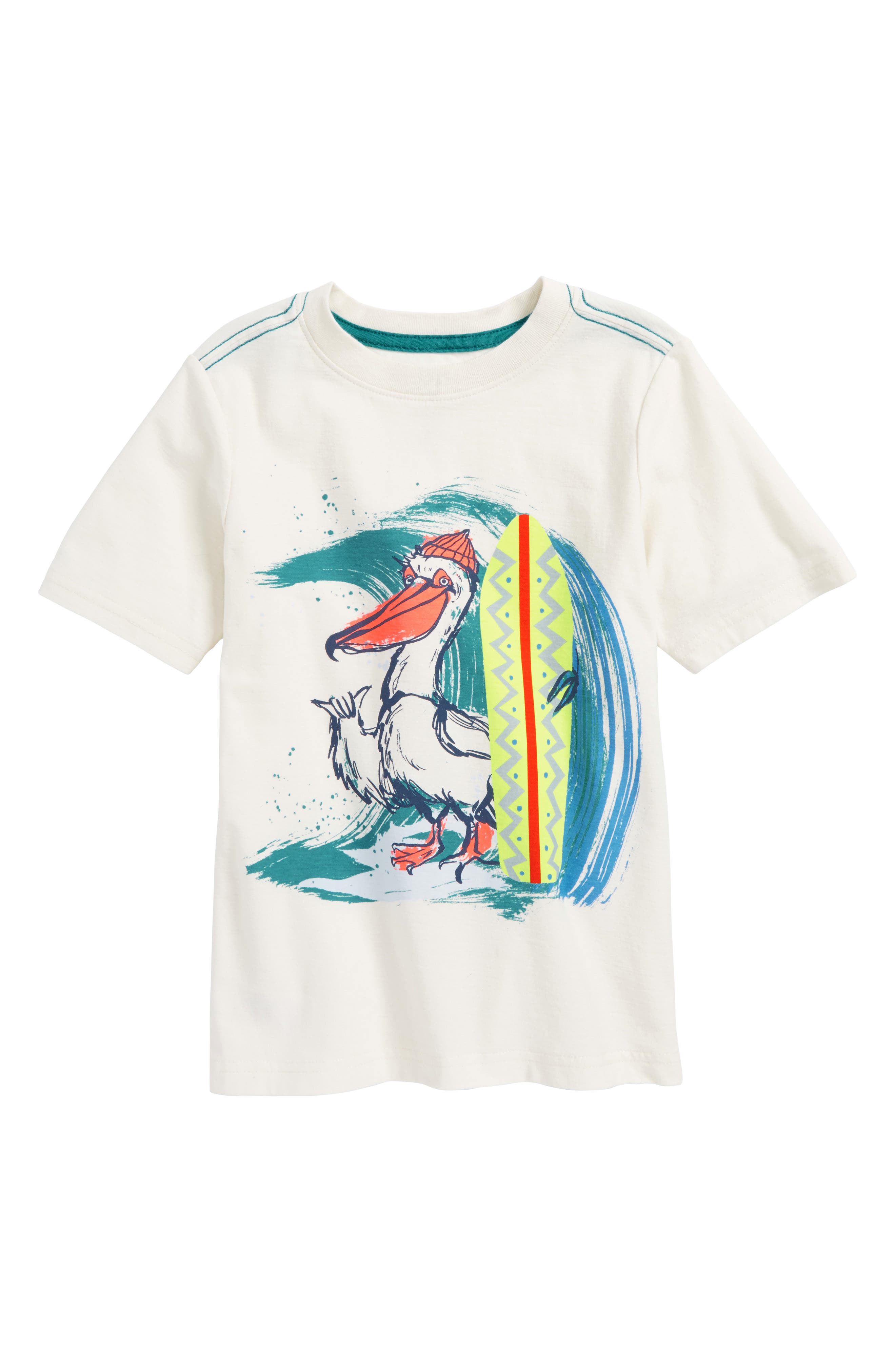 Surfing Pelican Graphic T-Shirt,                         Main,                         color, Chalk