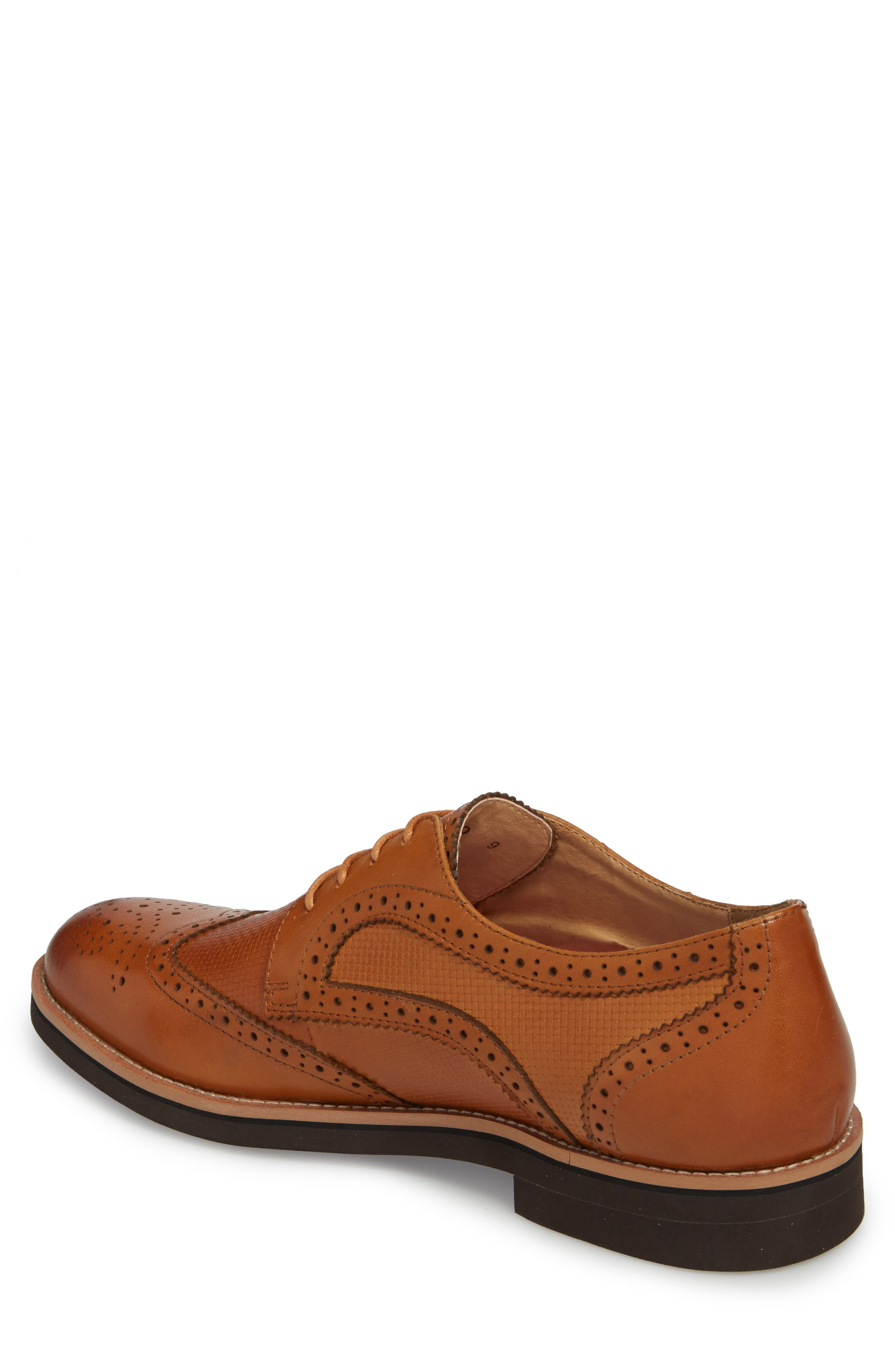 Cleave Embossed Wingtip,                             Alternate thumbnail 2, color,                             Cognac Leather
