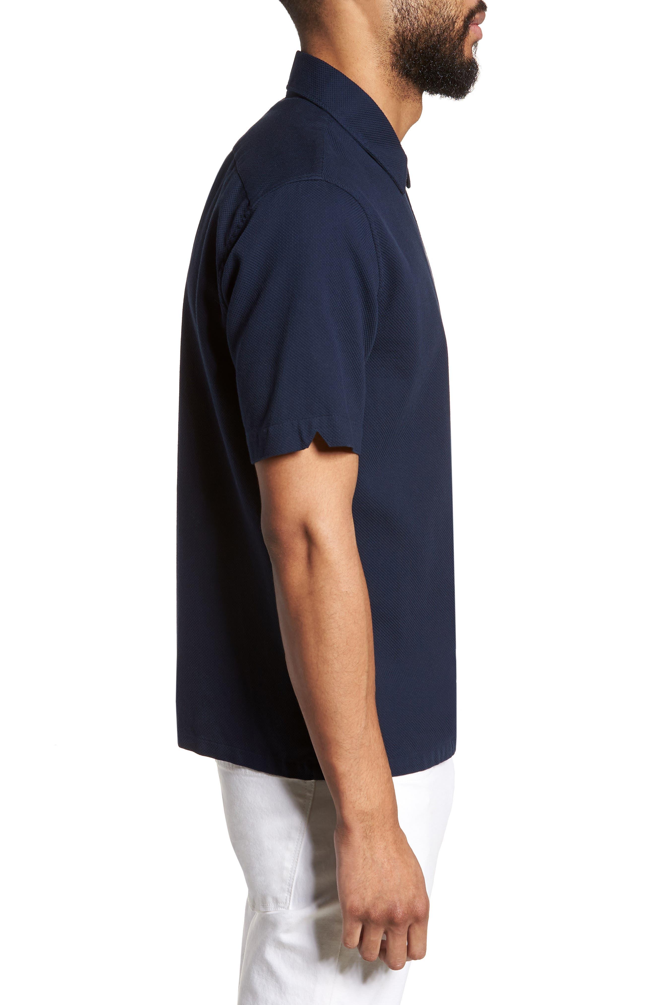 Woven Piqué Shirt,                             Alternate thumbnail 4, color,                             Carbon Blue