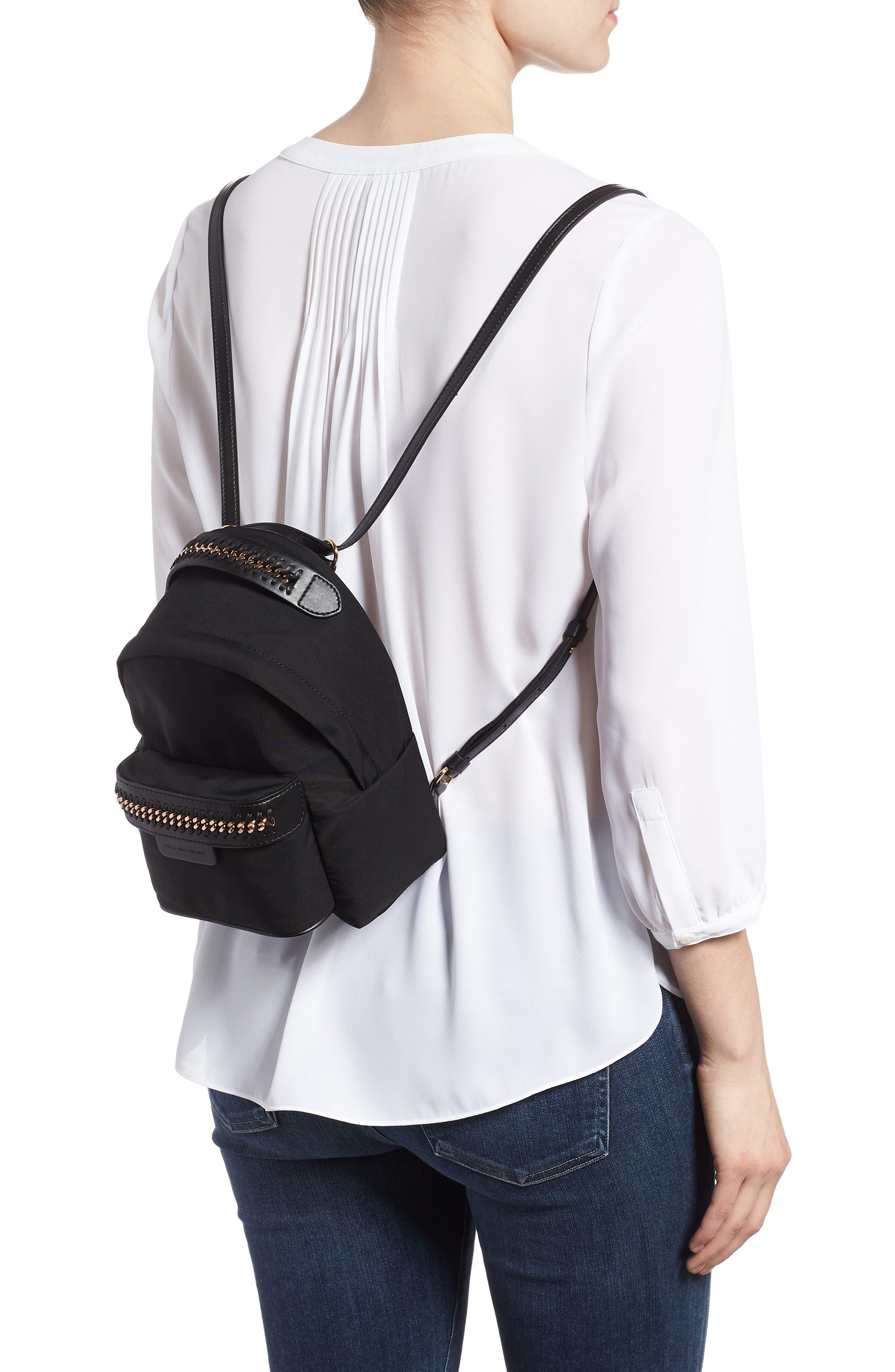 Mini Falabella Nylon Backpack,                             Alternate thumbnail 2, color,                             Black