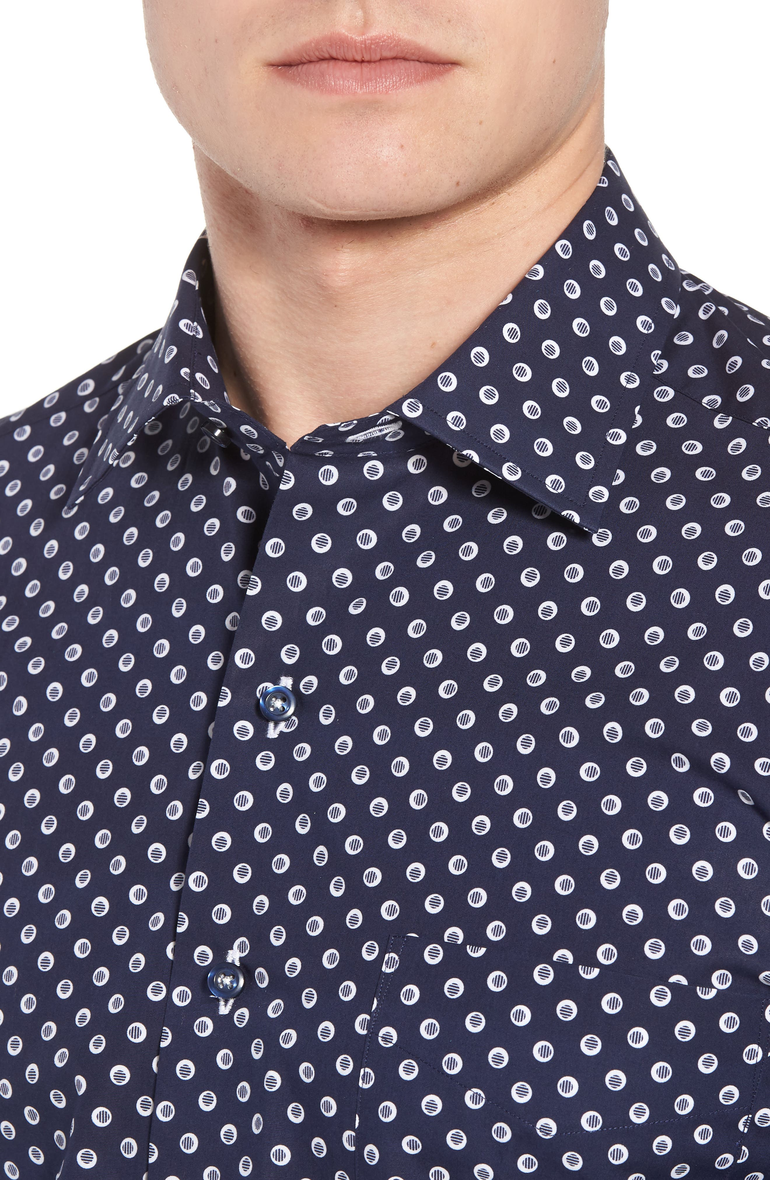 Regular Fit Dot Print Sport Shirt,                             Alternate thumbnail 4, color,                             Navy/ White