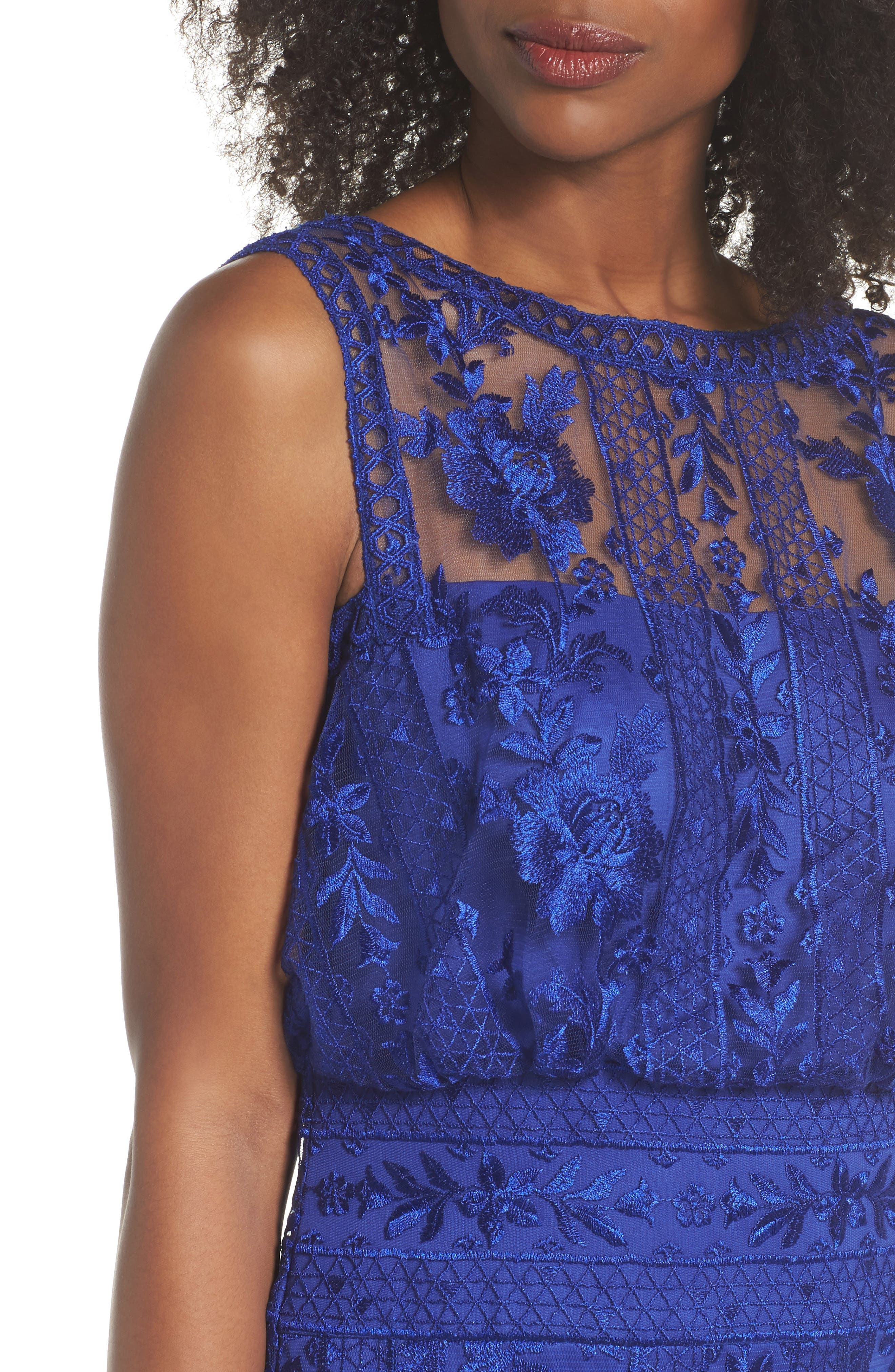 Kaisra Embroidered Lace Gown,                             Alternate thumbnail 4, color,                             Indigo