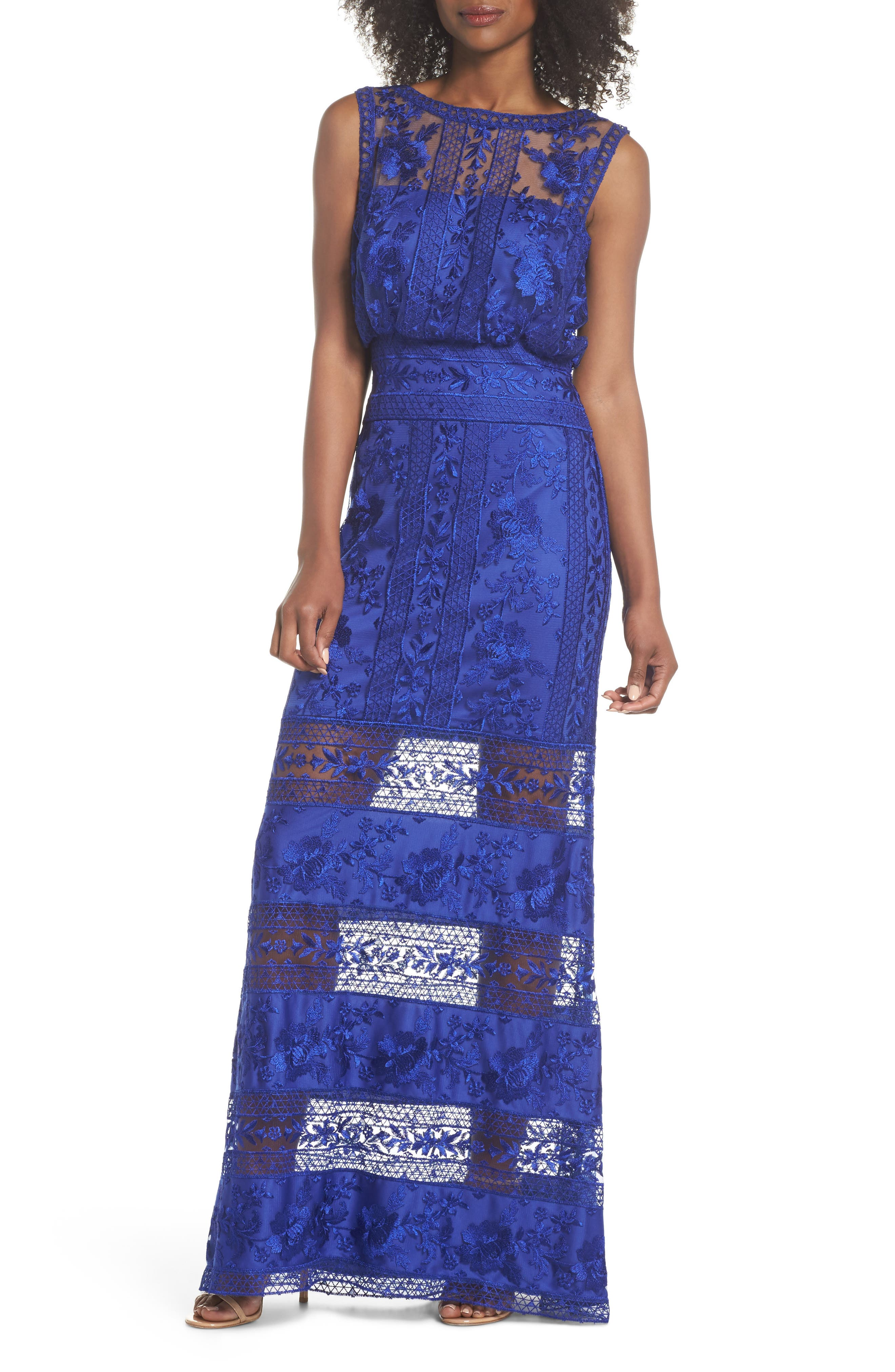 Kaisra Embroidered Lace Gown,                             Main thumbnail 1, color,                             Indigo
