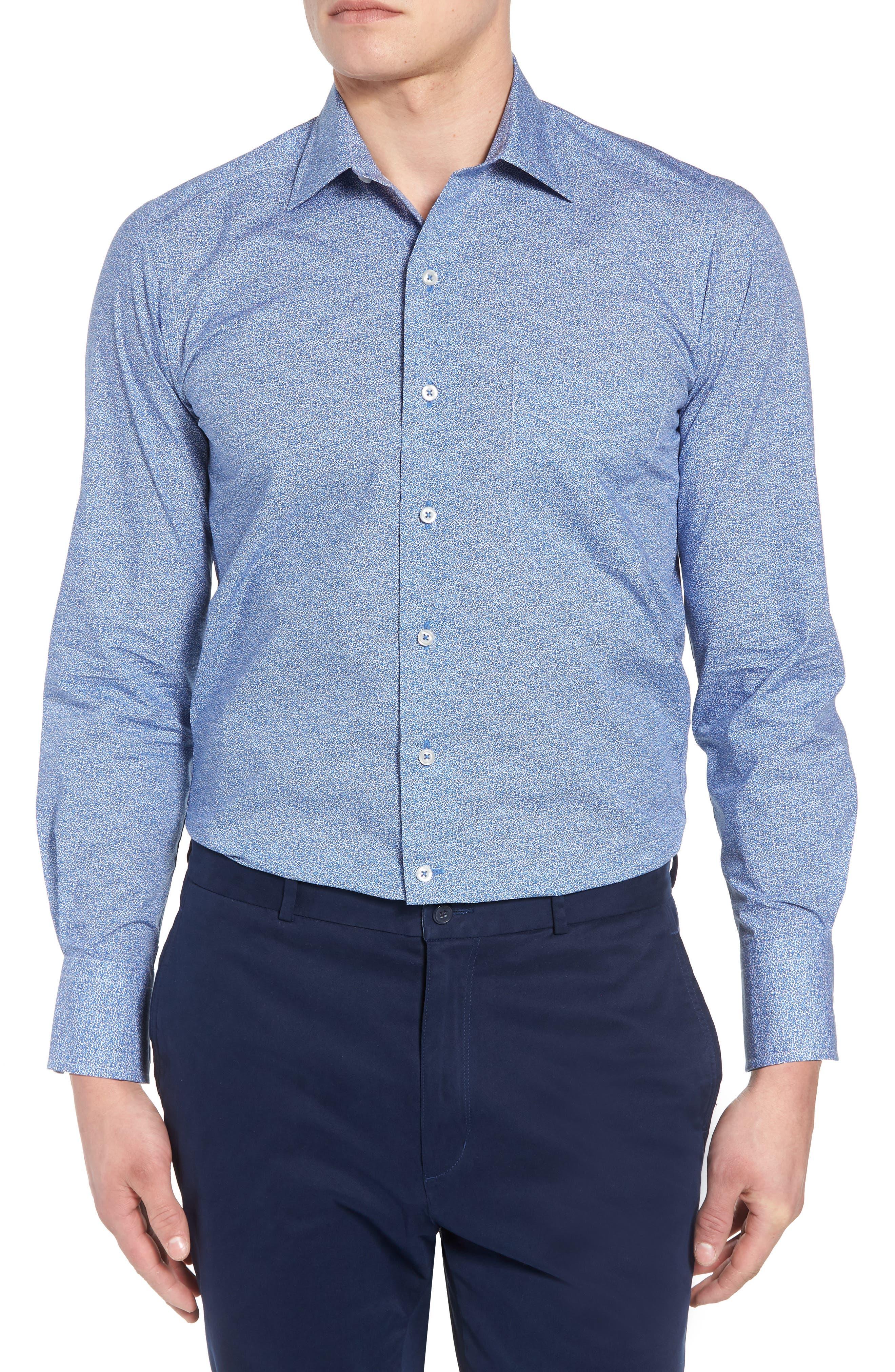 Regular Fit Microprint Sport Shirt,                             Main thumbnail 1, color,                             Blue