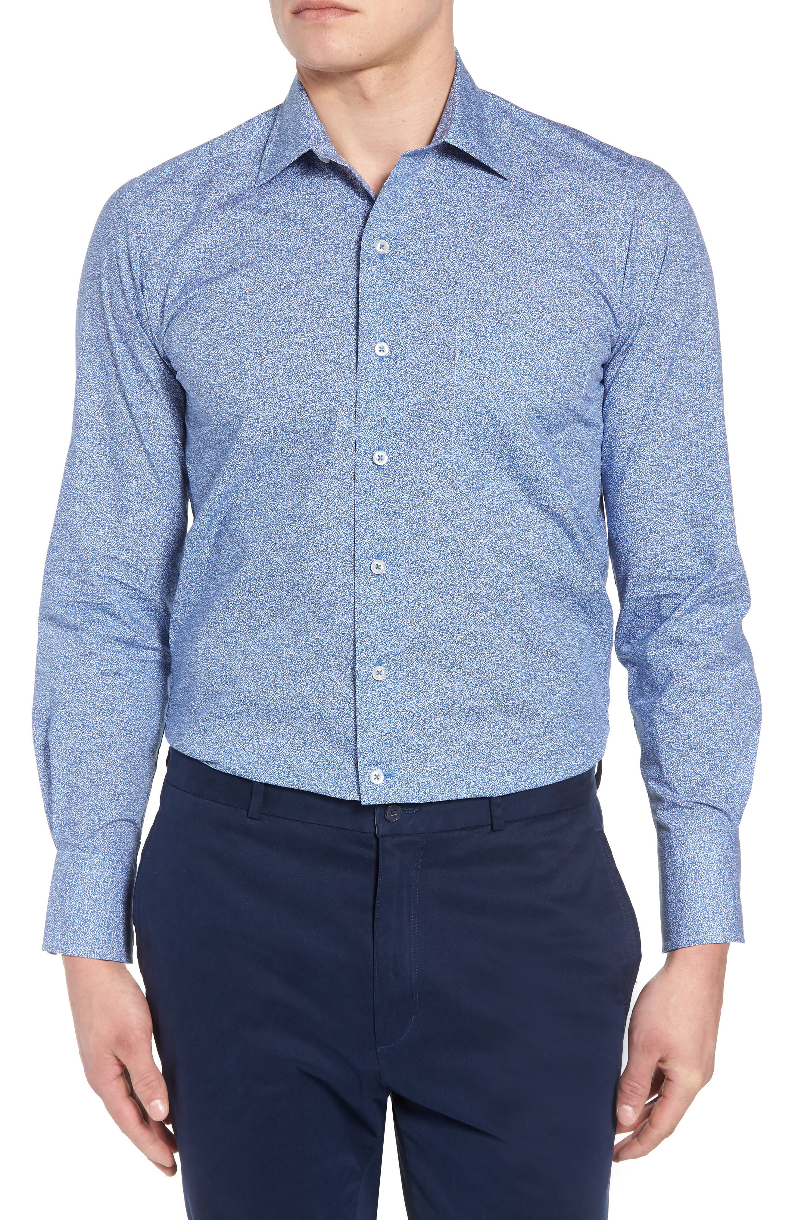 David Donahue Regular Fit Microprint Sport Shirt