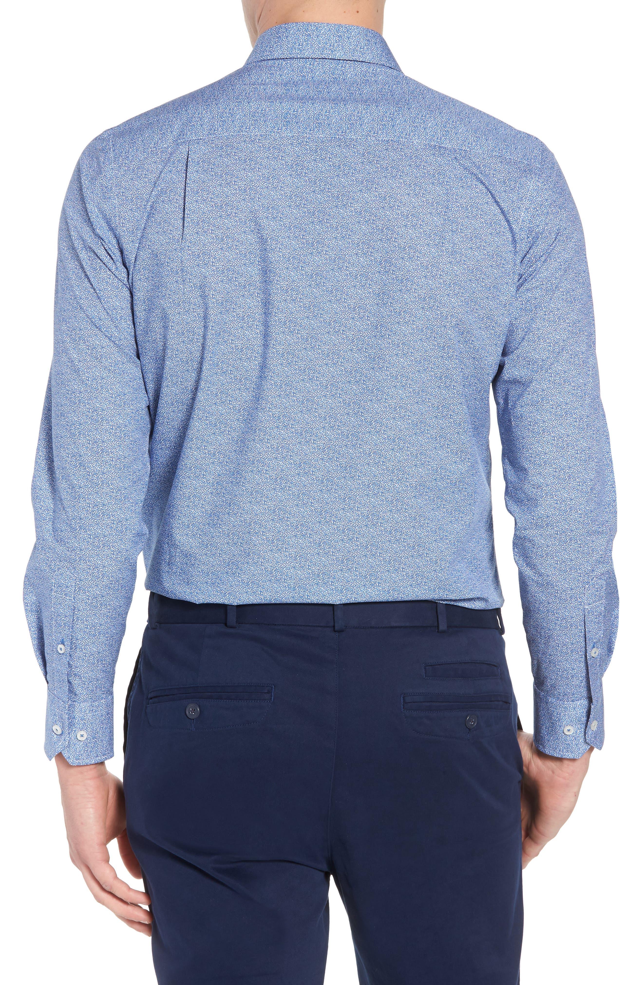 Regular Fit Microprint Sport Shirt,                             Alternate thumbnail 2, color,                             Blue