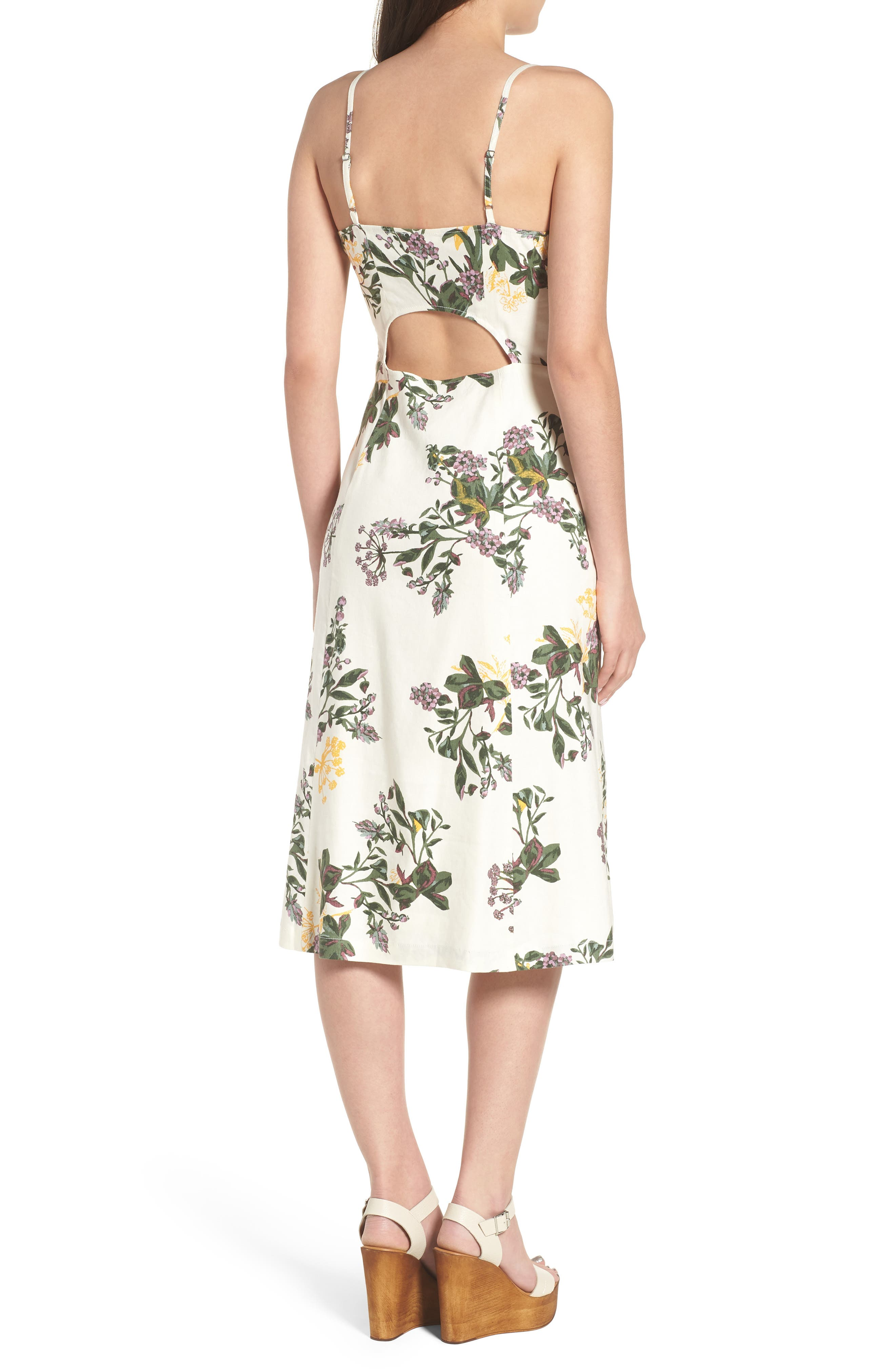 Floral Print Midi Dress,                             Alternate thumbnail 2, color,                             Ivory Ghost Floral