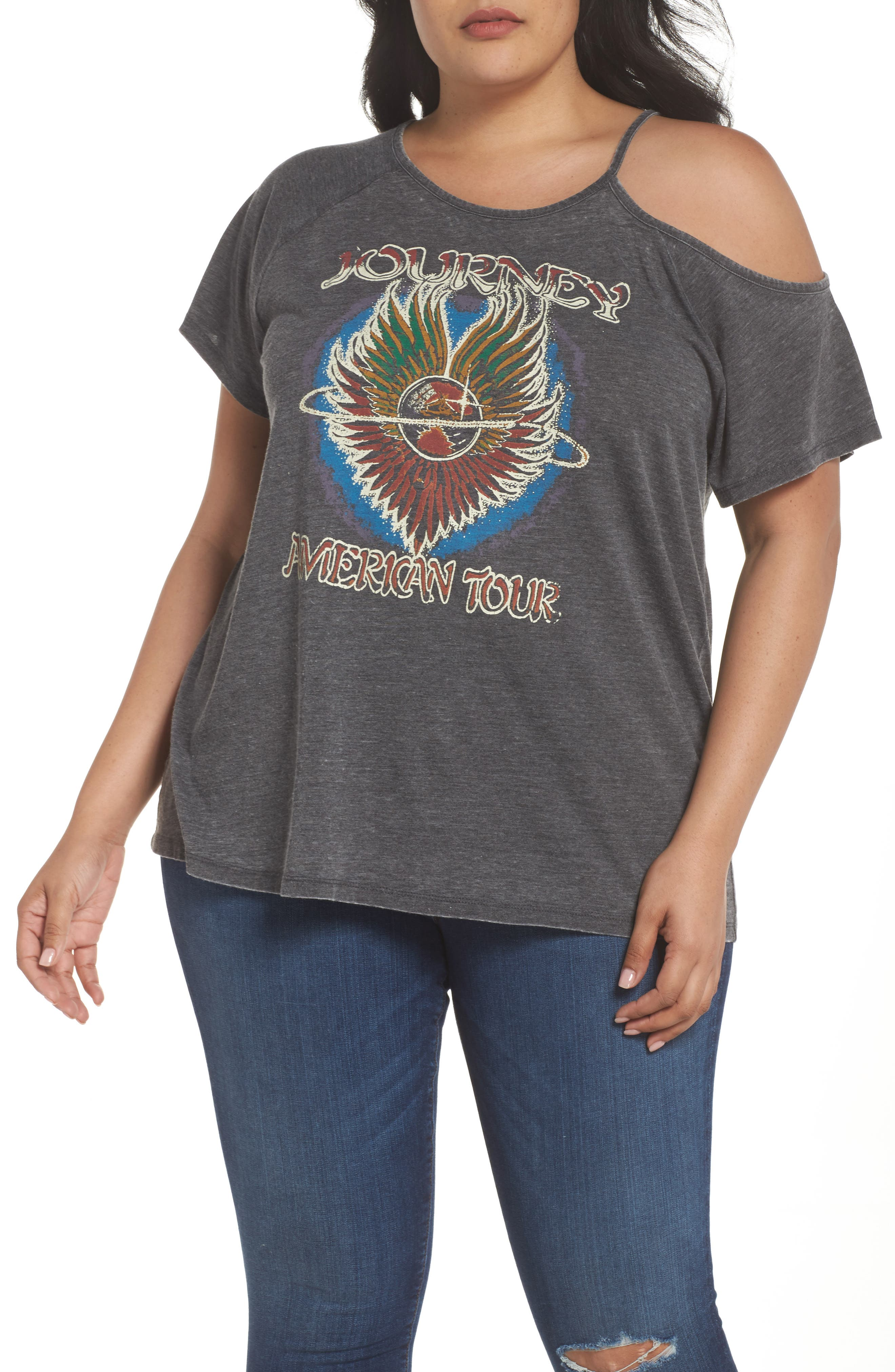 Main Image - Lucky Brand Journey Cold Shoulder Tee (Plus Size)