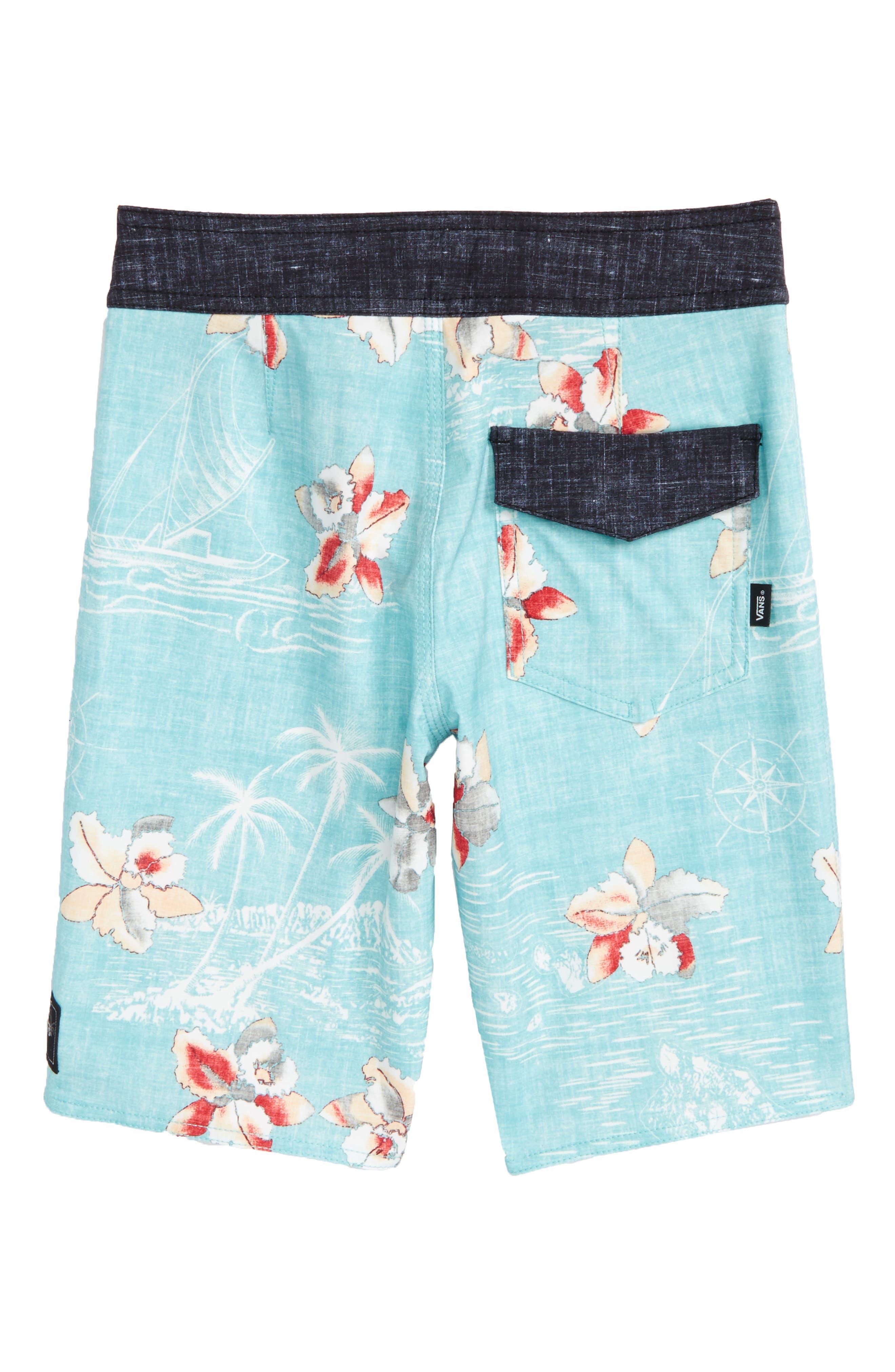 Hawaii Floral Board Shorts,                             Alternate thumbnail 2, color,                             Aquarelle