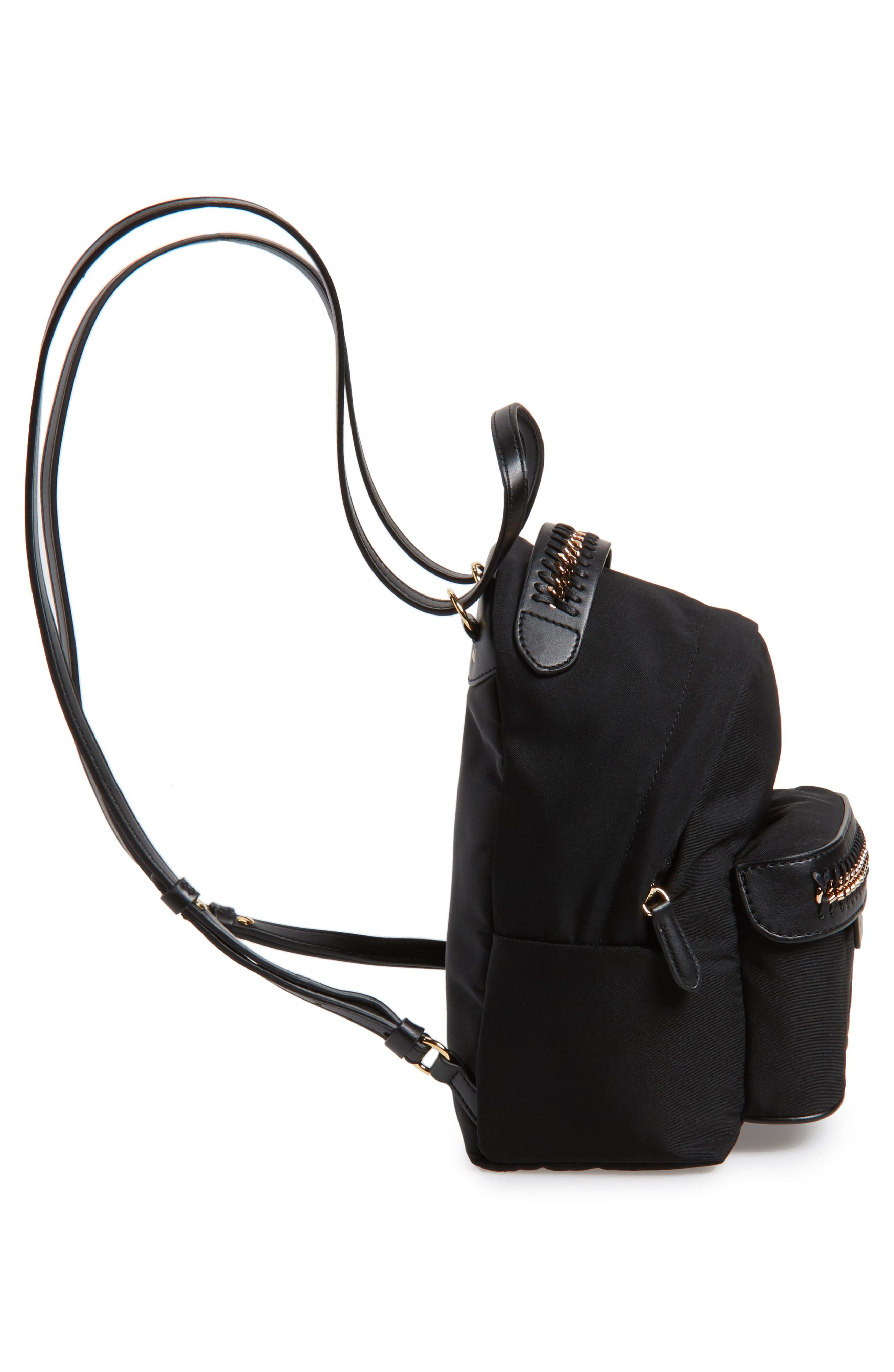 Mini Falabella Nylon Backpack,                             Alternate thumbnail 4, color,                             Black