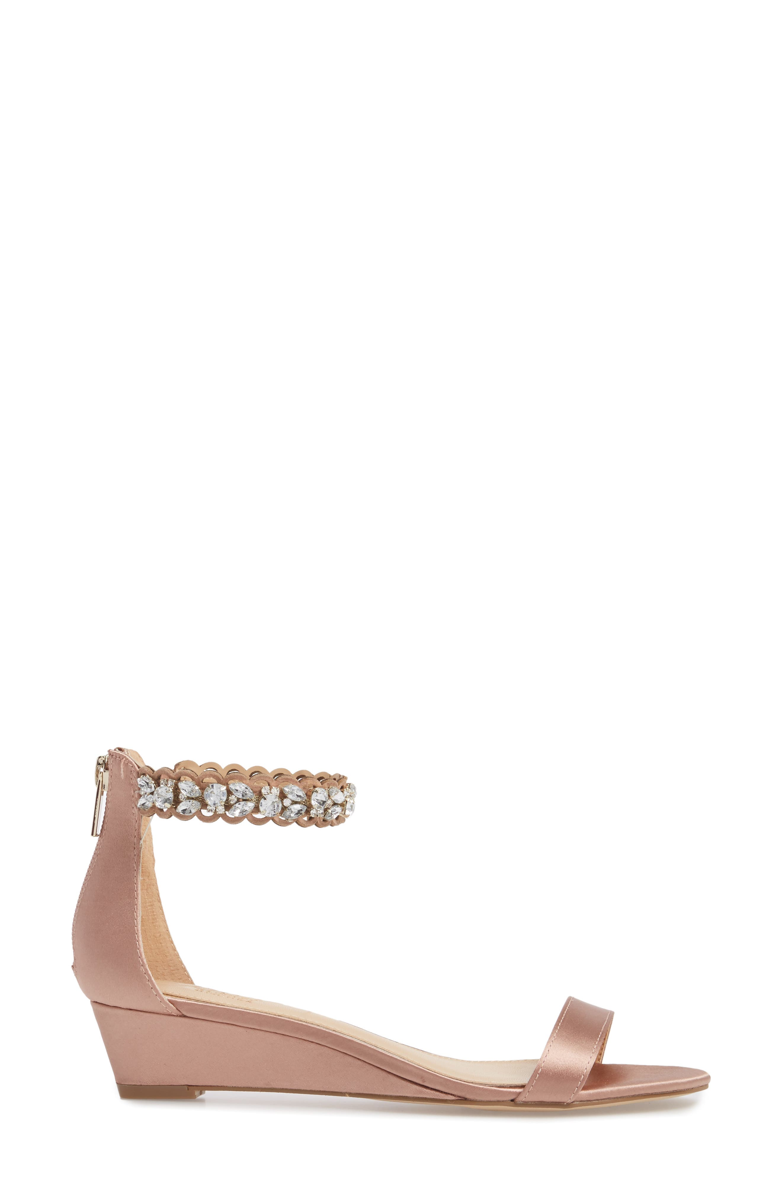 Ginger Wedge Sandal,                             Alternate thumbnail 3, color,                             Dark Blush