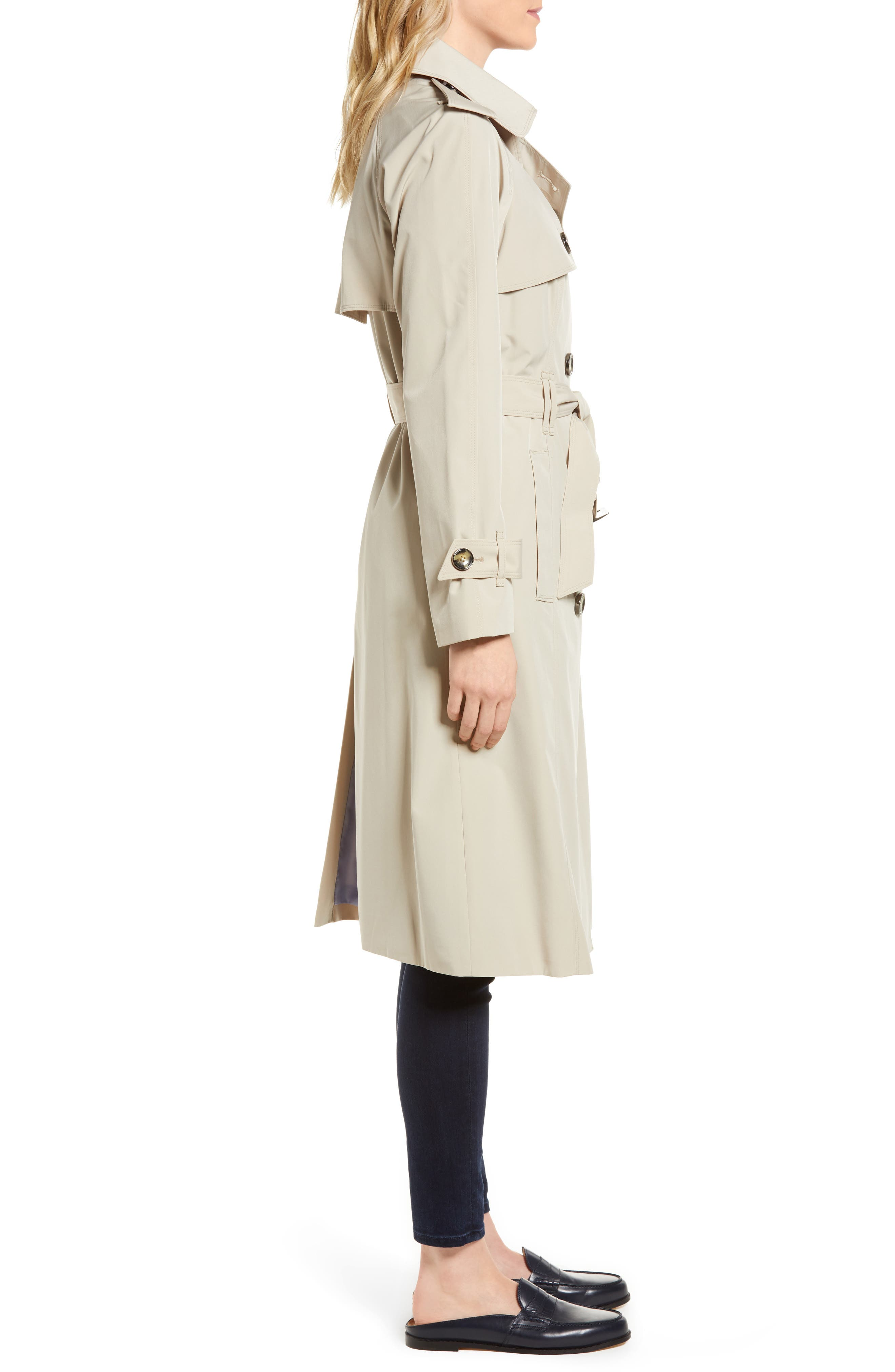 Long Double Breasted Trench Coat,                             Alternate thumbnail 3, color,                             Stone
