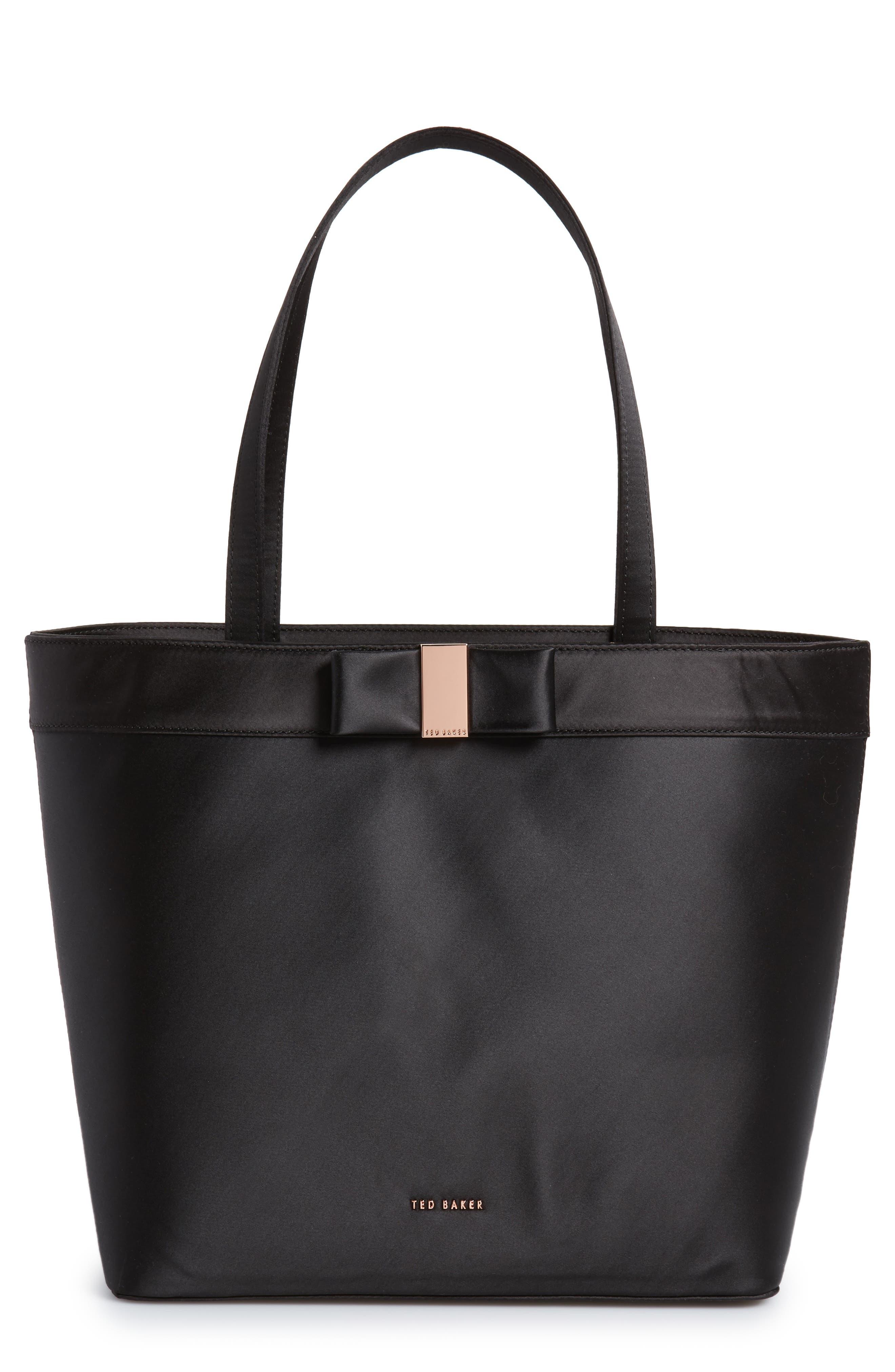 Abila Bow Detail Satin Shopper,                         Main,                         color, Black