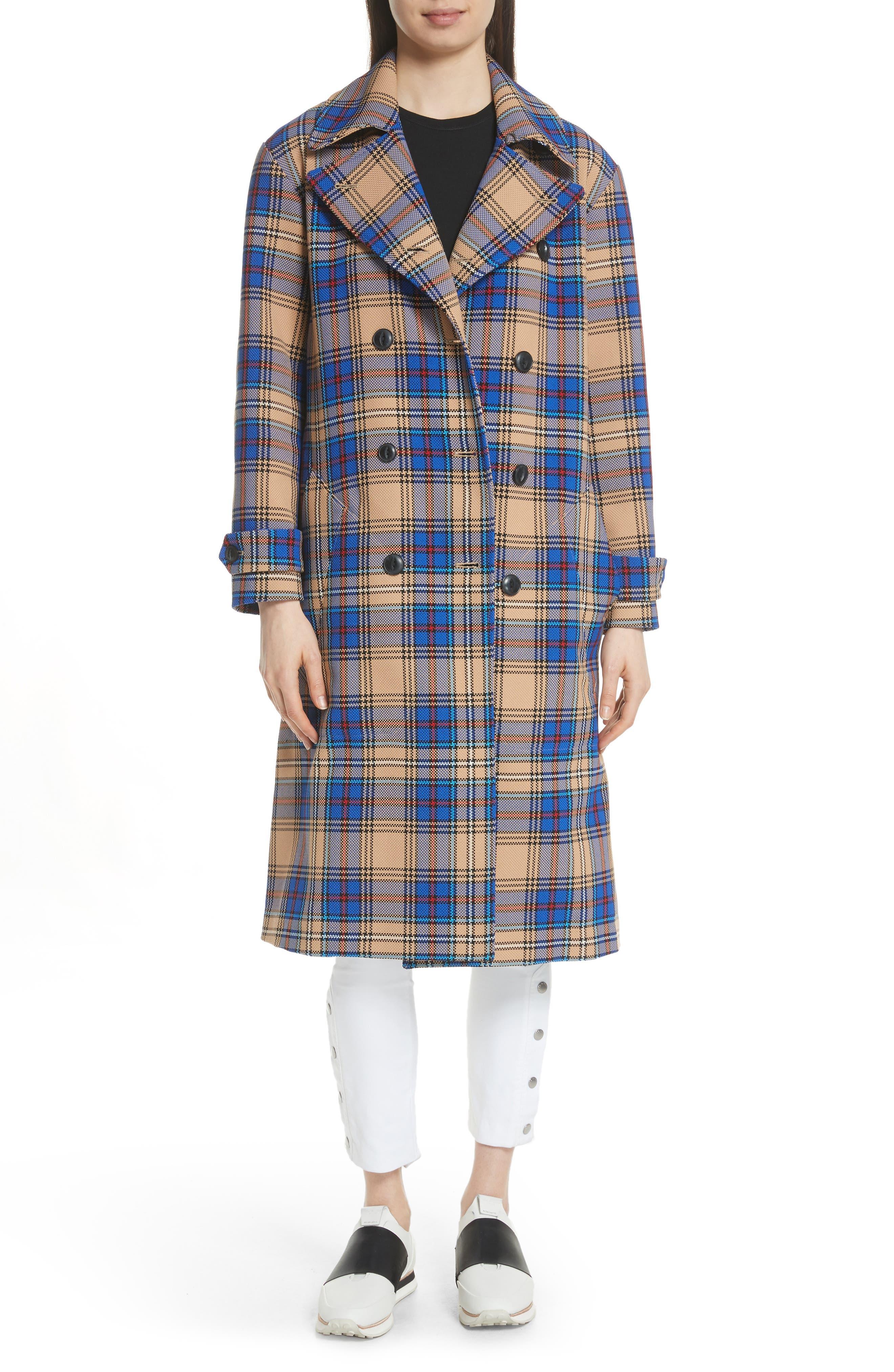Ace Plaid Trench Coat,                             Main thumbnail 1, color,                             Blue Plaid