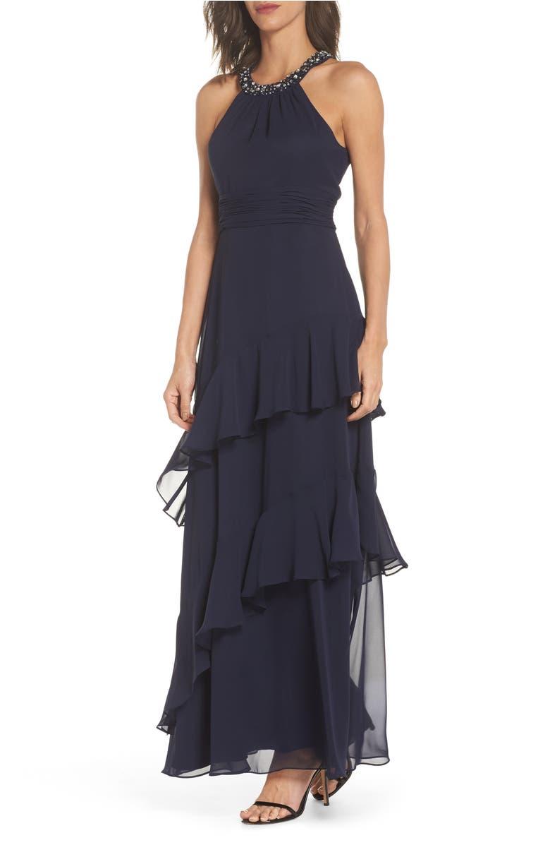 Shoptagr | Beaded Halter Tiered Chiffon Gown by Eliza J