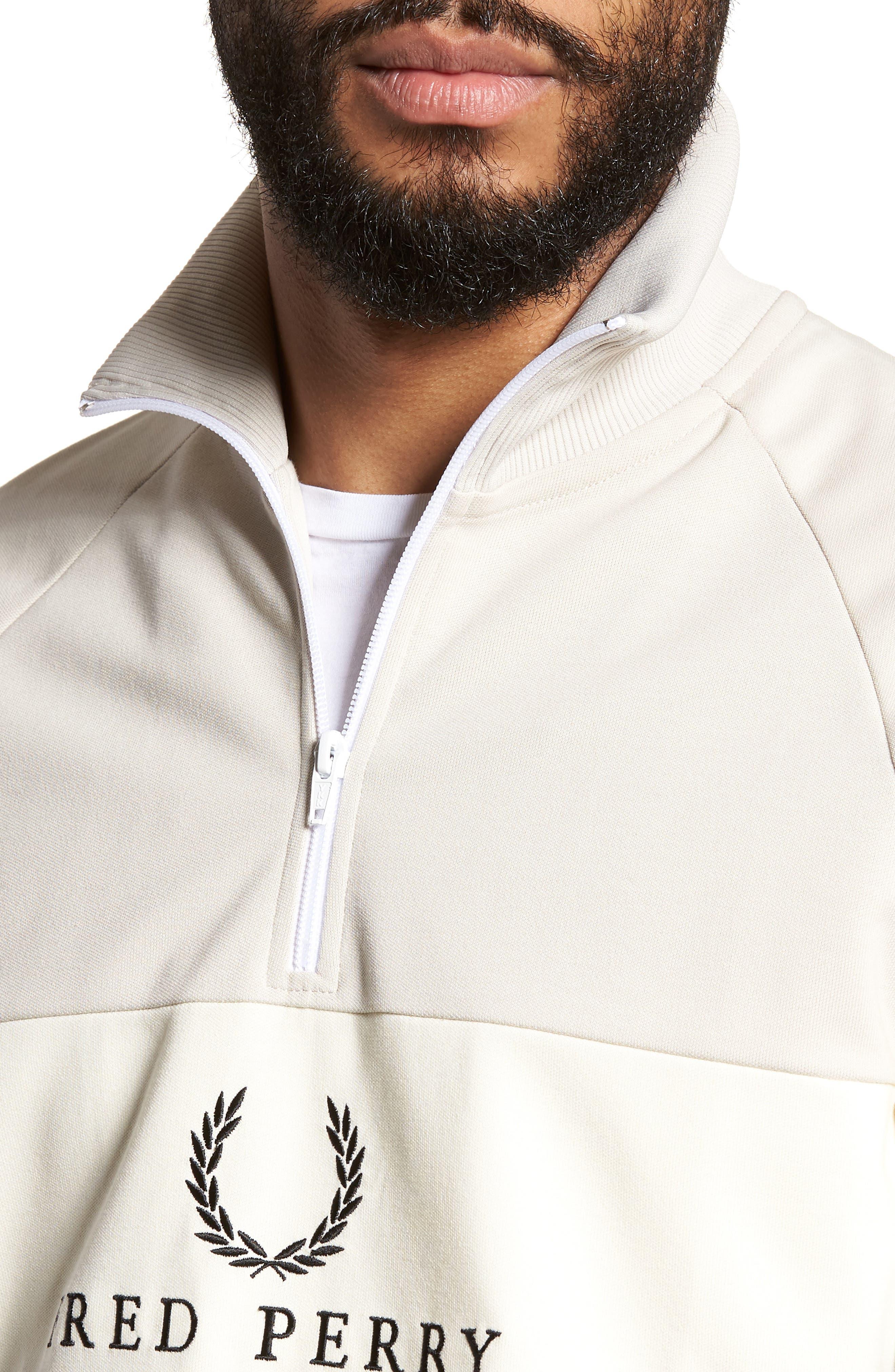 Embroidered Panel Quarter Zip Pullover,                             Alternate thumbnail 4, color,                             Black