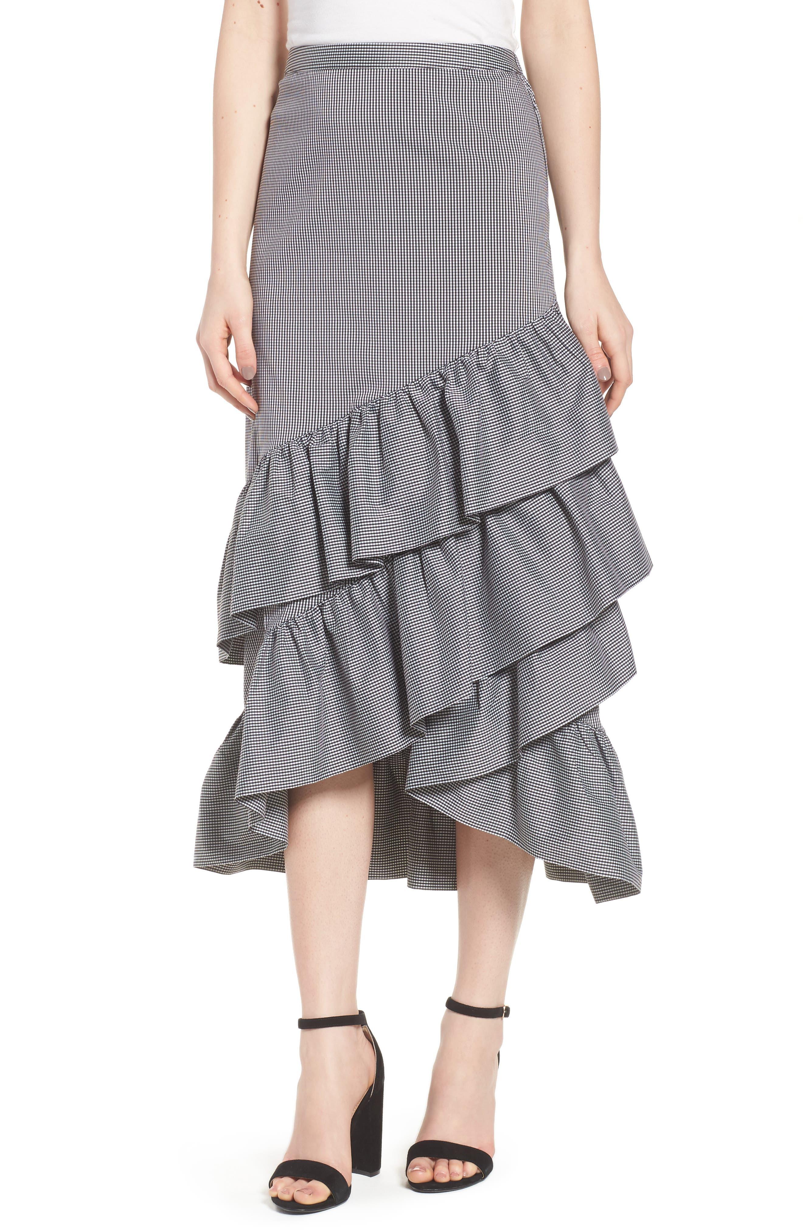 Gingham Ruffle Skirt,                             Main thumbnail 1, color,                             Black- White Mini Gingham