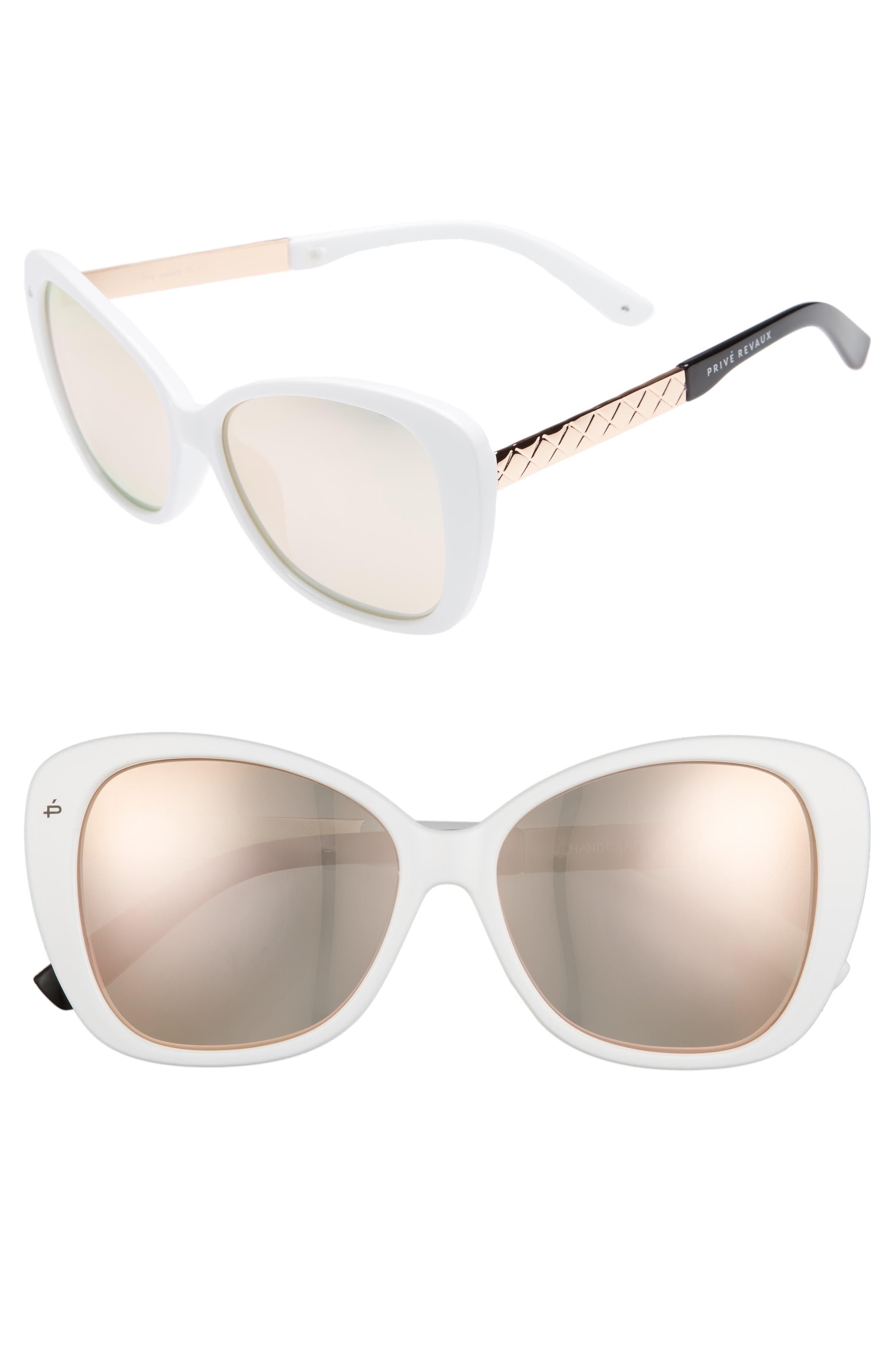Privé Revaux The Jackie O 56mm Cat Eye Sunglasses,                             Main thumbnail 1, color,                             White Polarized