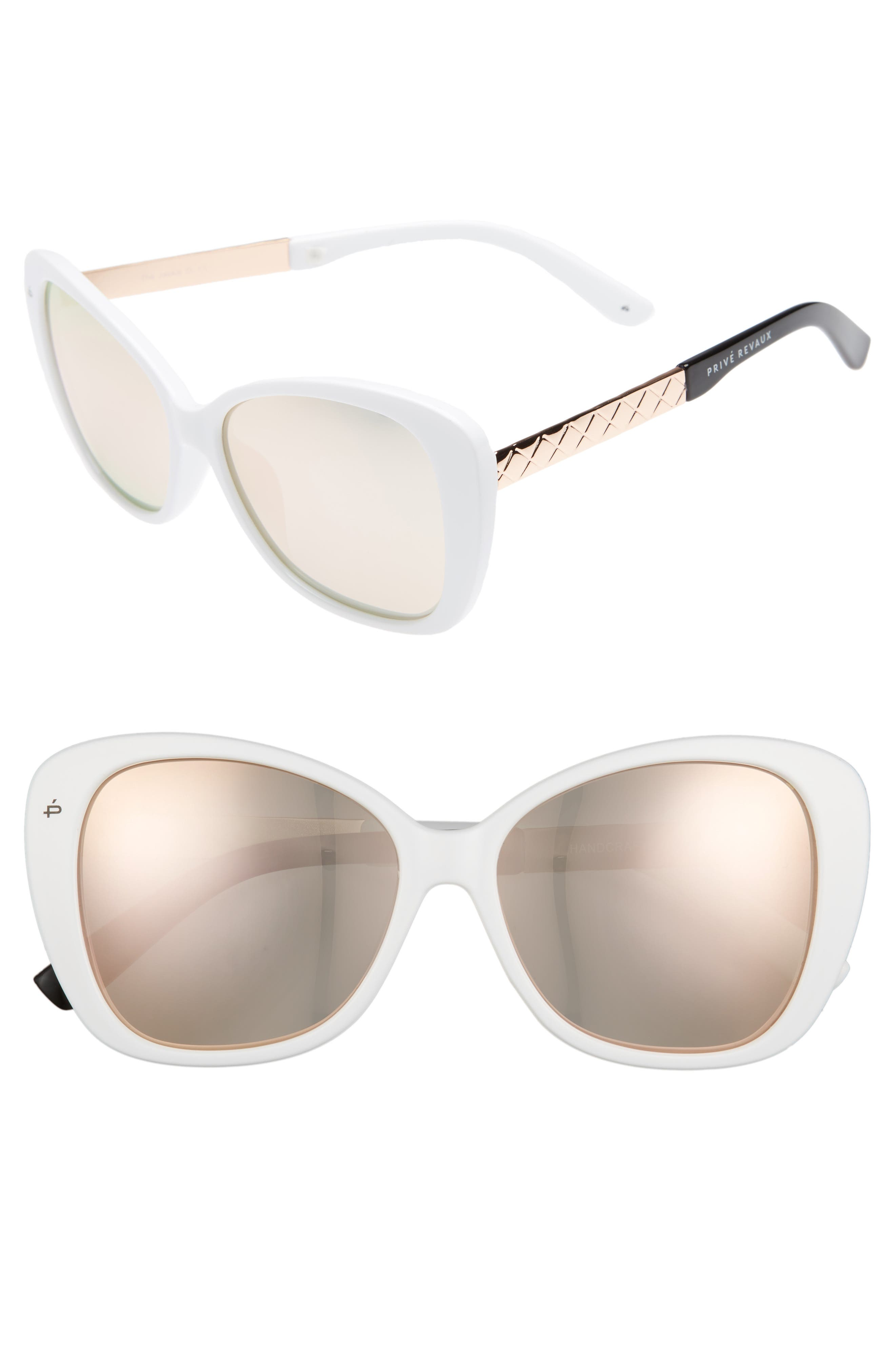Privé Revaux The Jackie O 56mm Cat Eye Sunglasses,                         Main,                         color, White Polarized