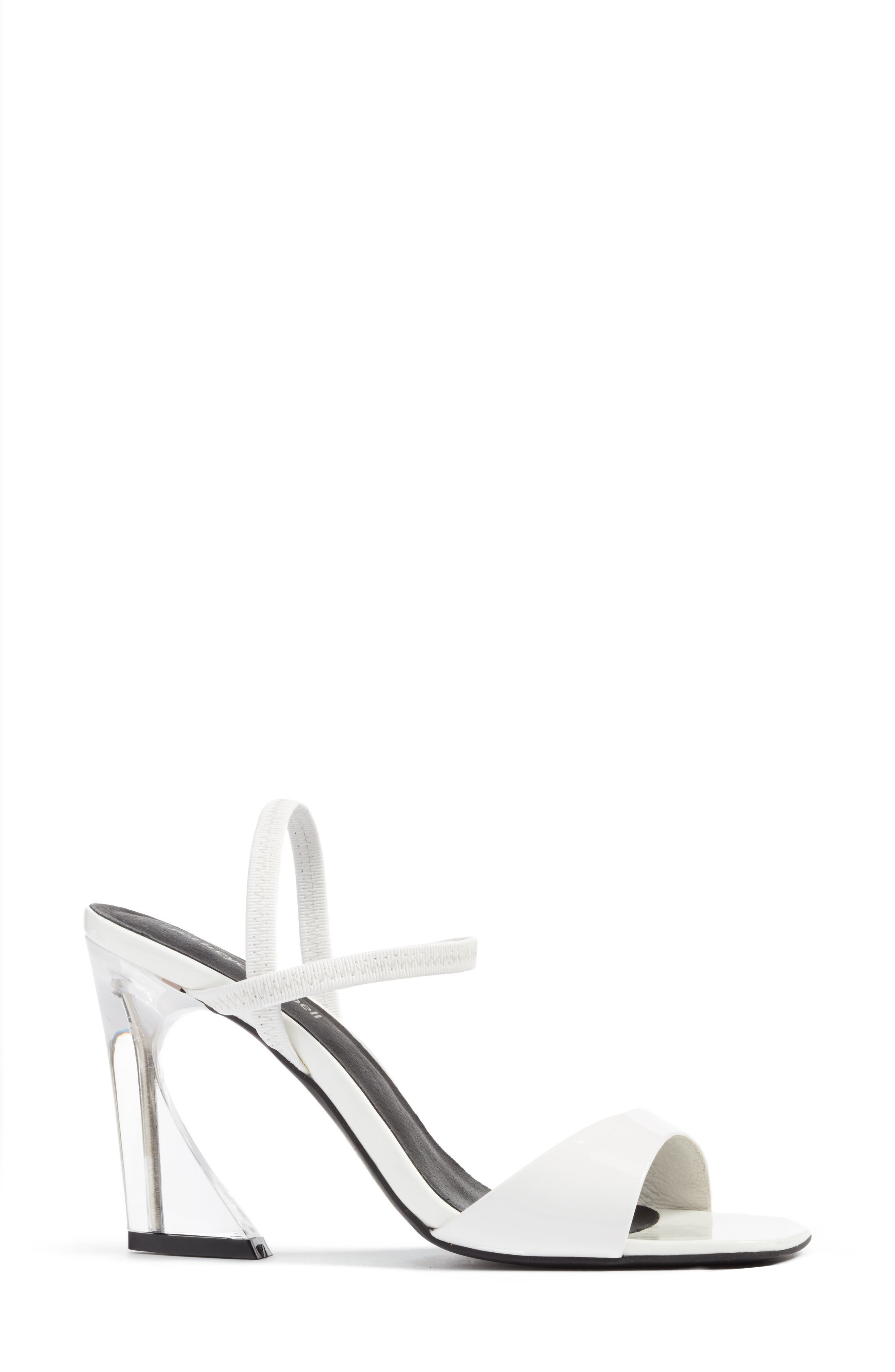 Carine Sandal,                             Alternate thumbnail 4, color,                             White Patent/ Clear