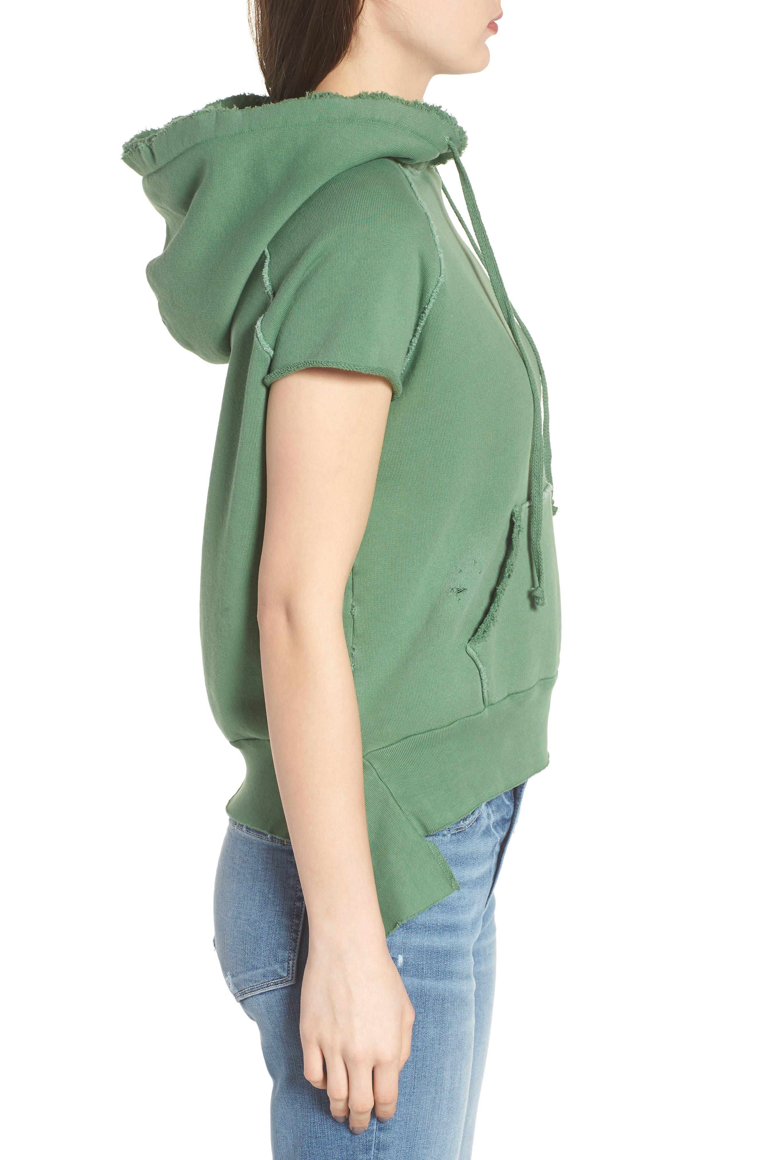Short Sleeve Pullover Hoodie,                             Alternate thumbnail 3, color,                             Envied 5 Year Vintage Wash