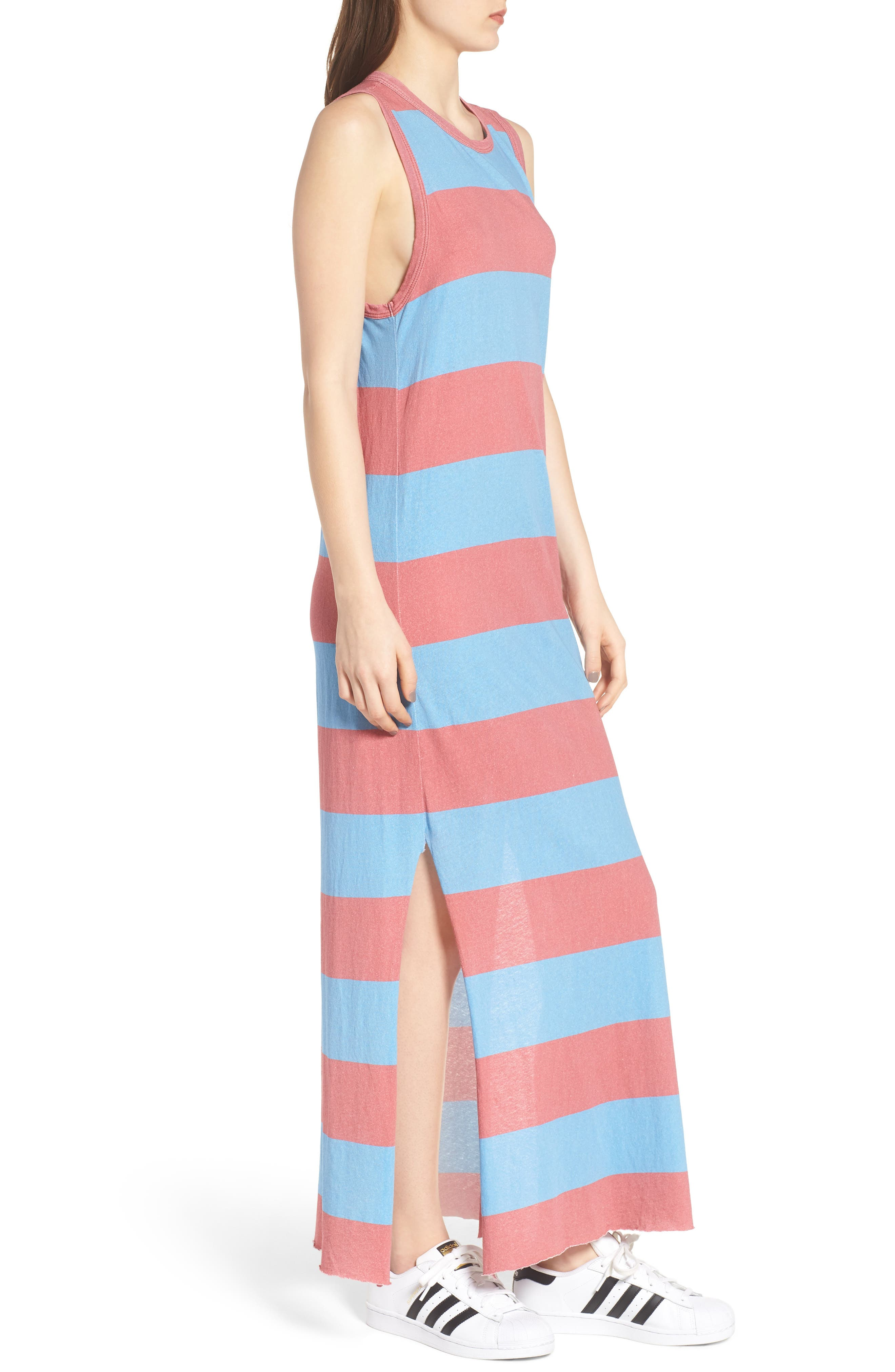 Stripe Muscle Maxi Dress,                             Alternate thumbnail 3, color,                             Red Rugby