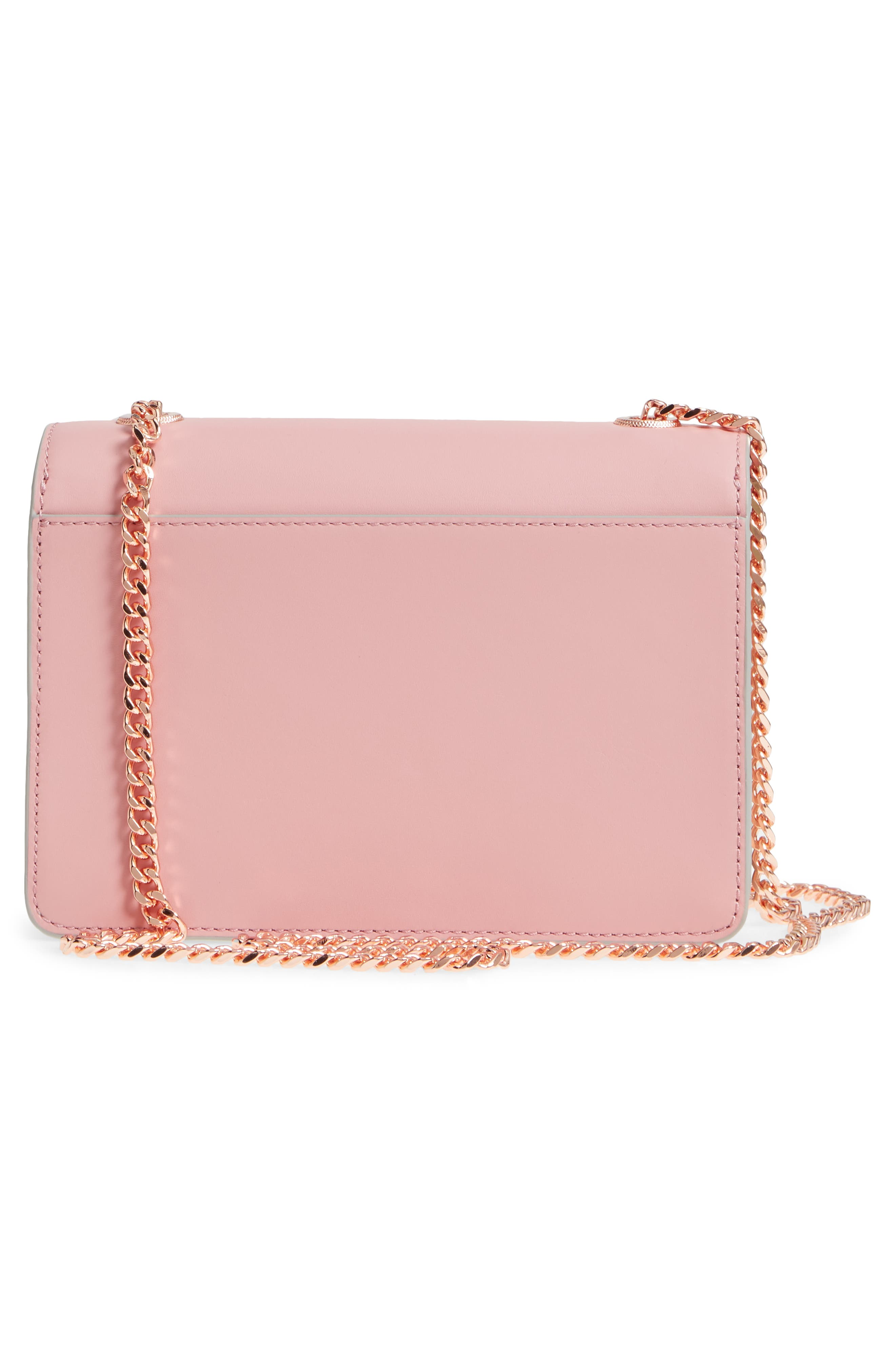 Earie Leather Crossbody Bag,                             Alternate thumbnail 3, color,                             Dusky Pink